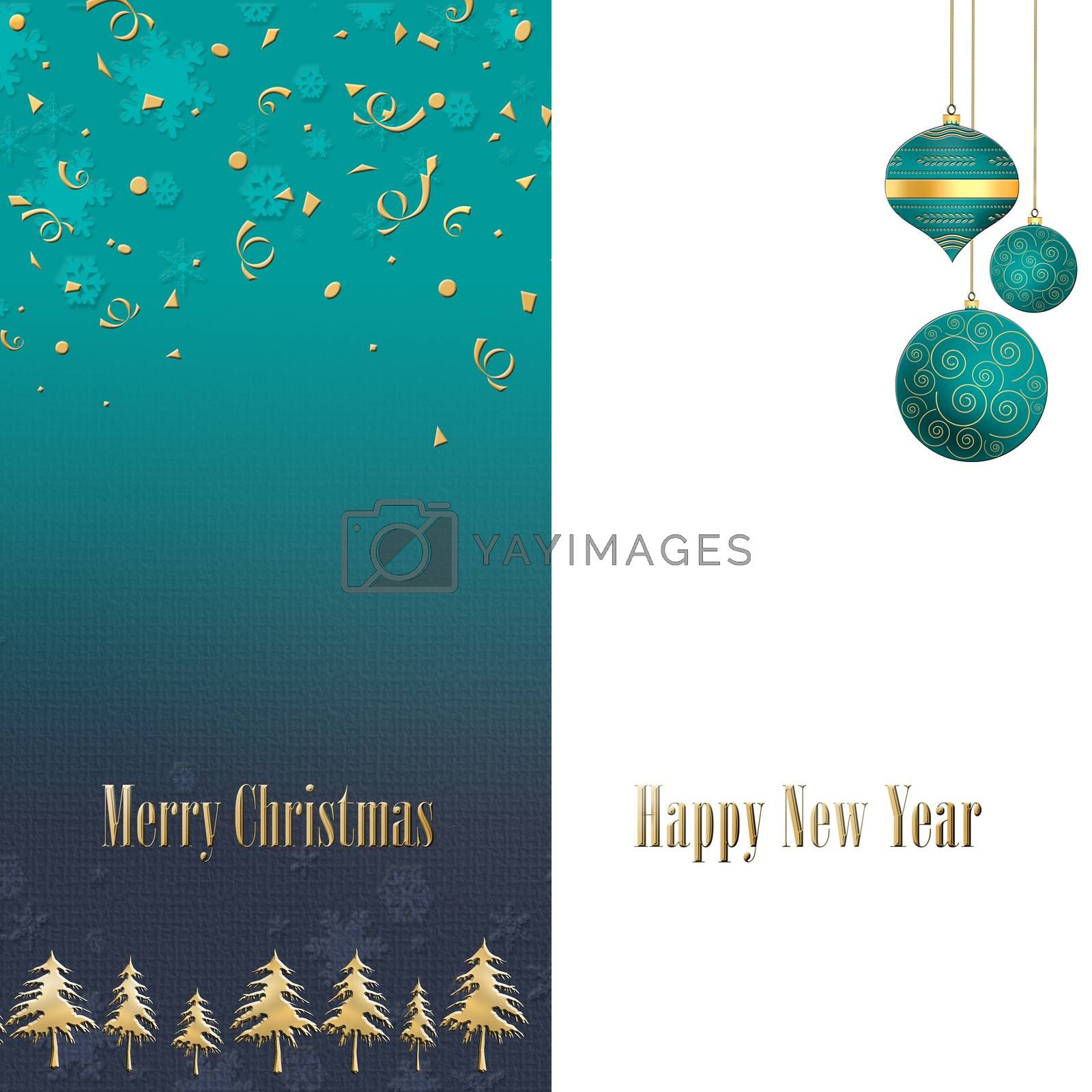 Elegant Christmas background with turquoise blue balls with gold ornament on white green background. Copy space, mock up, place for text. 3D illustration