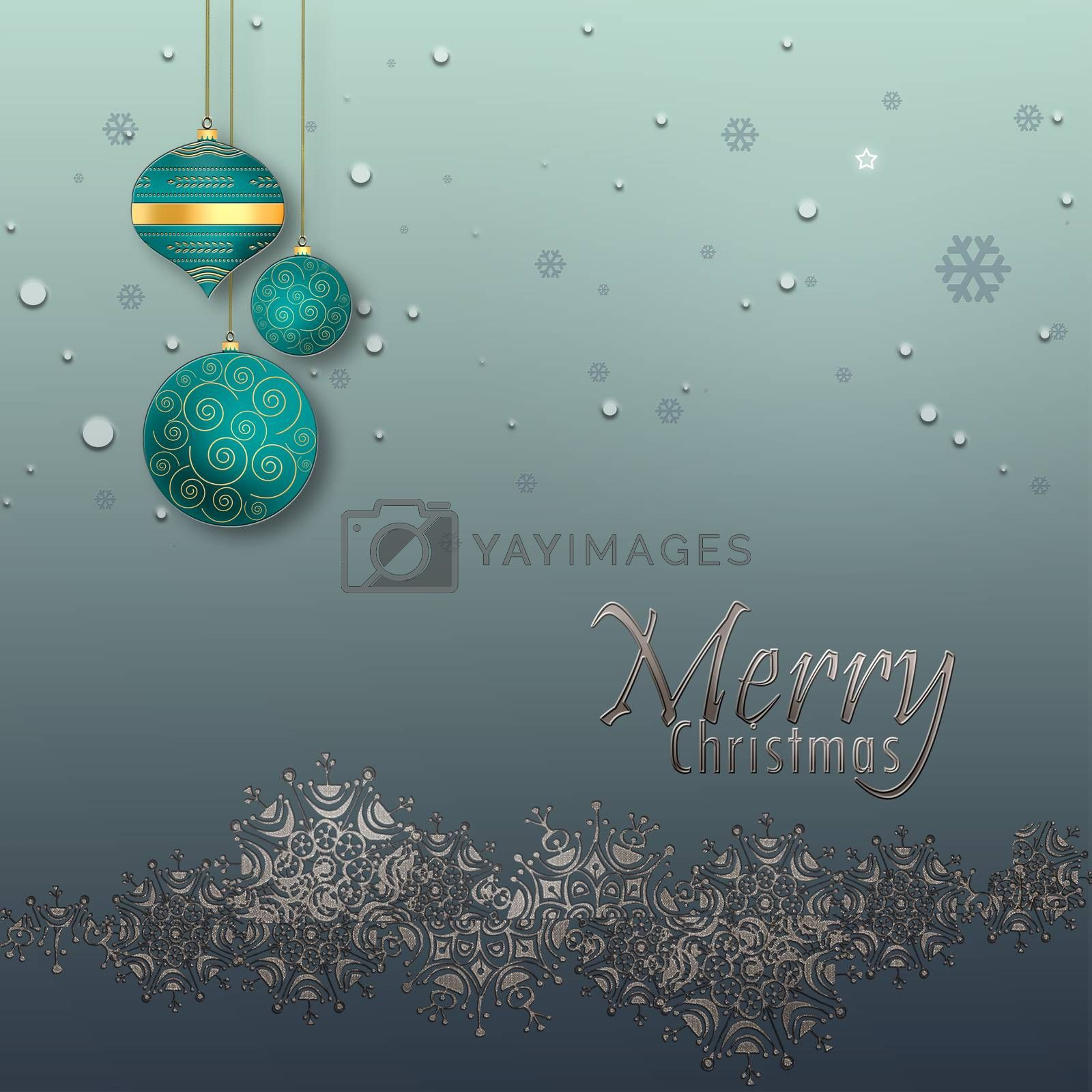 Christmas and Happy New Year Background with silver border of snowflakes, blue turquoise balls on pastel green metallic background. Text Merry Christmas. 3D illustration
