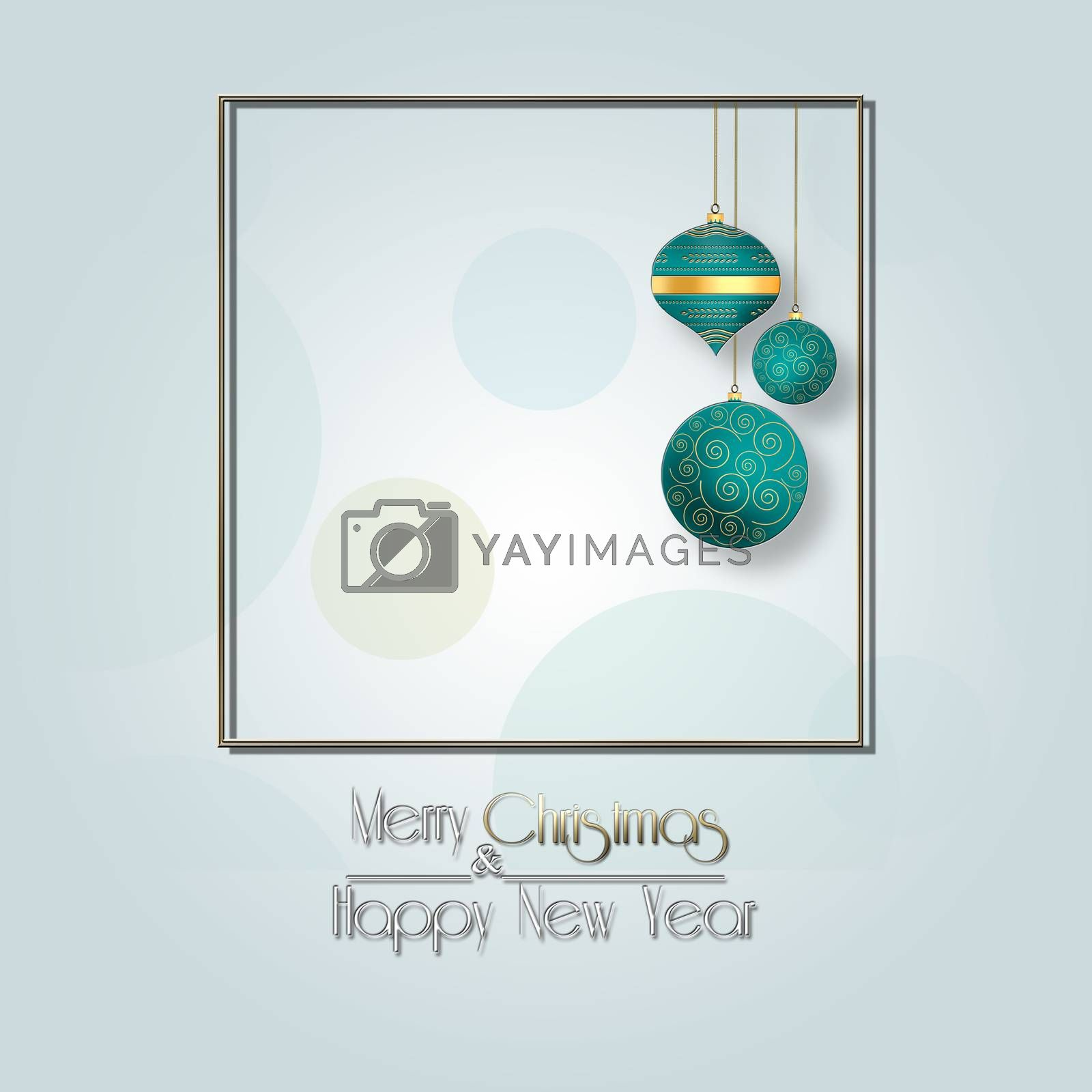 Pastel blue winter design. Turquoise blue hanging balls, text Merry Christmas and Happy New Year. Minimalist background for 2021 New Year. Christmas flyer, poster, sign, banner, web, header. 3D illustration