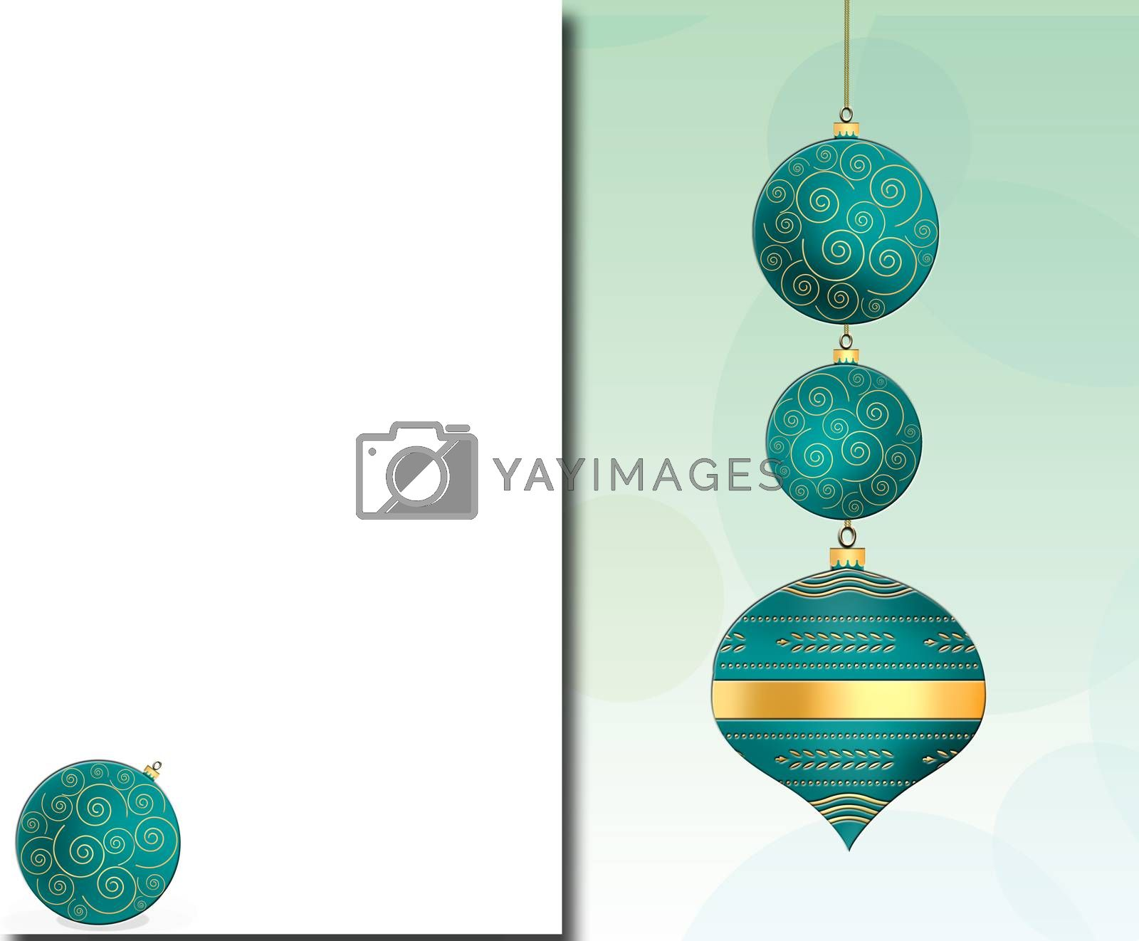 Elegant Christmas background with hanging turquoise blue balls with gold ornament on pastel green background. Copy space, mock up. 3D illustration