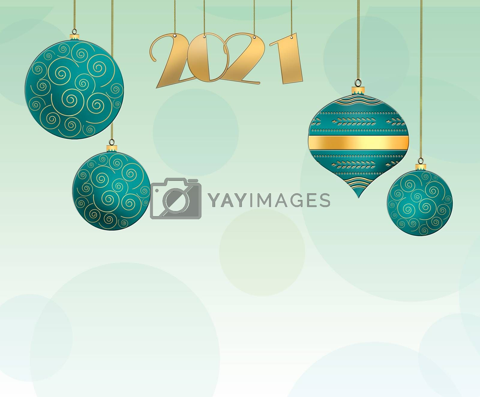 Christmas background with hanging turquoise blue balls with gold ornament and hanging gold digit 2021 on pastel green background. Copy space. 3D illustration