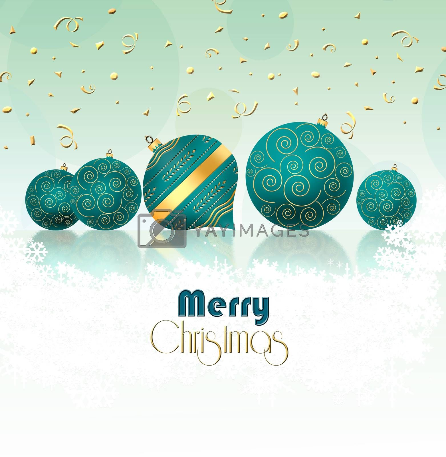 Christmas New Year background with turquoise blue balls with gold ornament and gold confetti on pastel green background. Copy space. 3D illustration