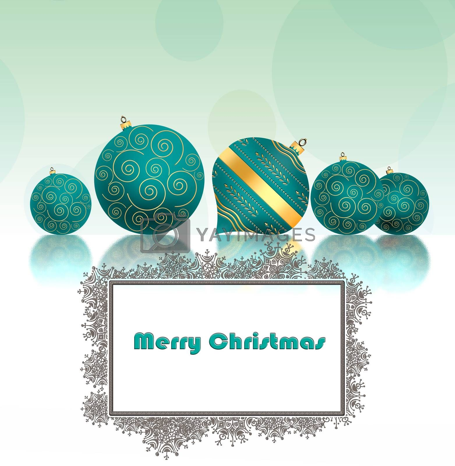 Christmas background with turquoise blue balls with gold ornament and snowflakes border on pastel green background. Copy space, mock up. 3D illustration