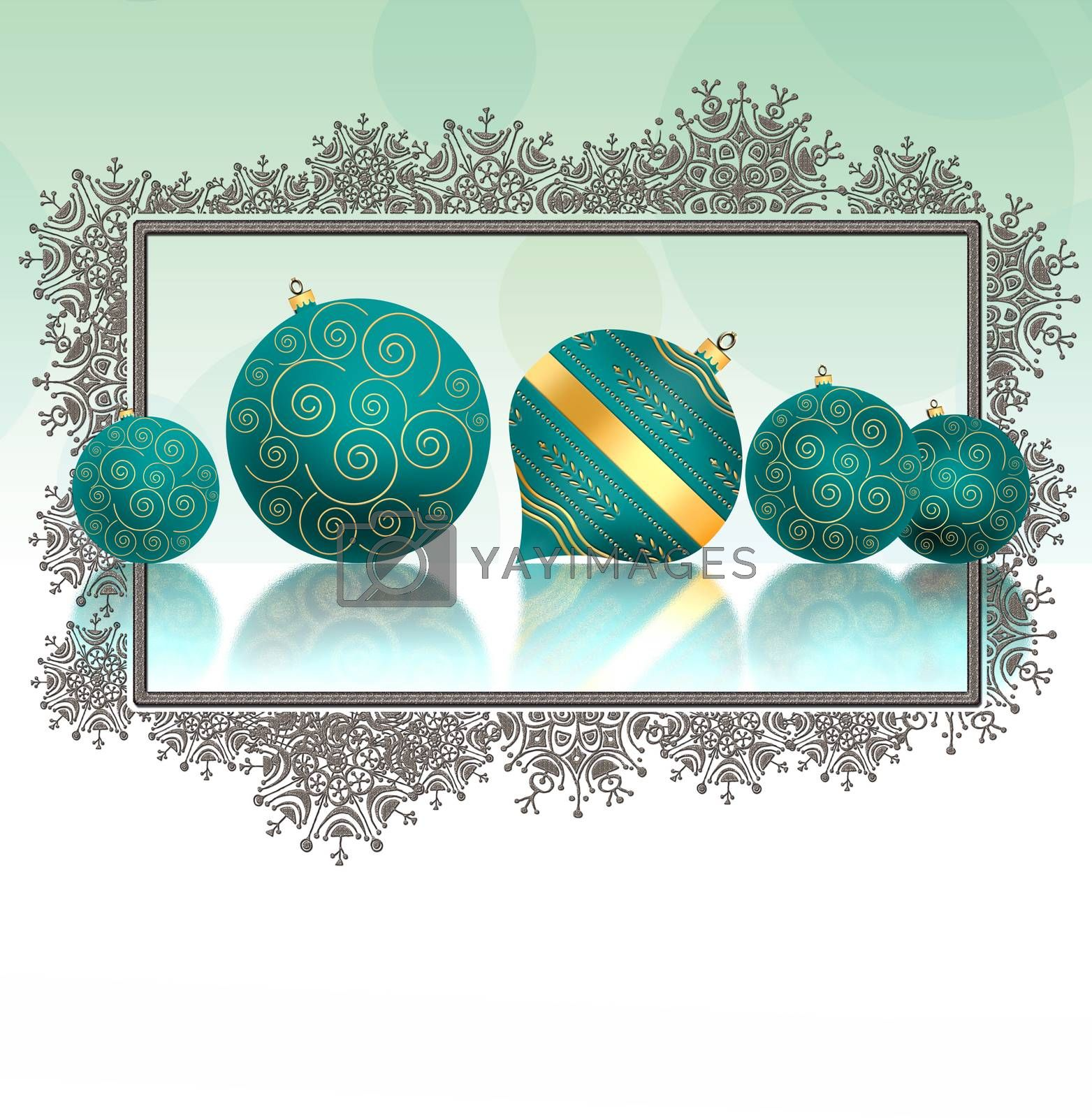 Christmas background with turquoise blue balls with gold ornament with reflection and snowflakes border on pastel green background. Copy space, mock up. 3D illustration