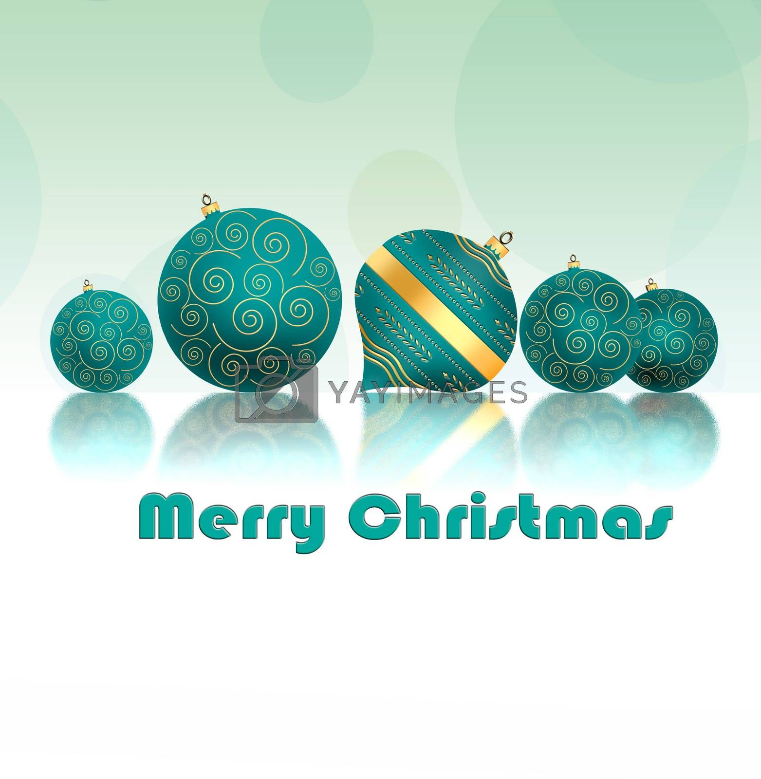 Christmas background with turquoise blue balls with gold ornament on reflection on pastel green background. Copy space, 3D illustration