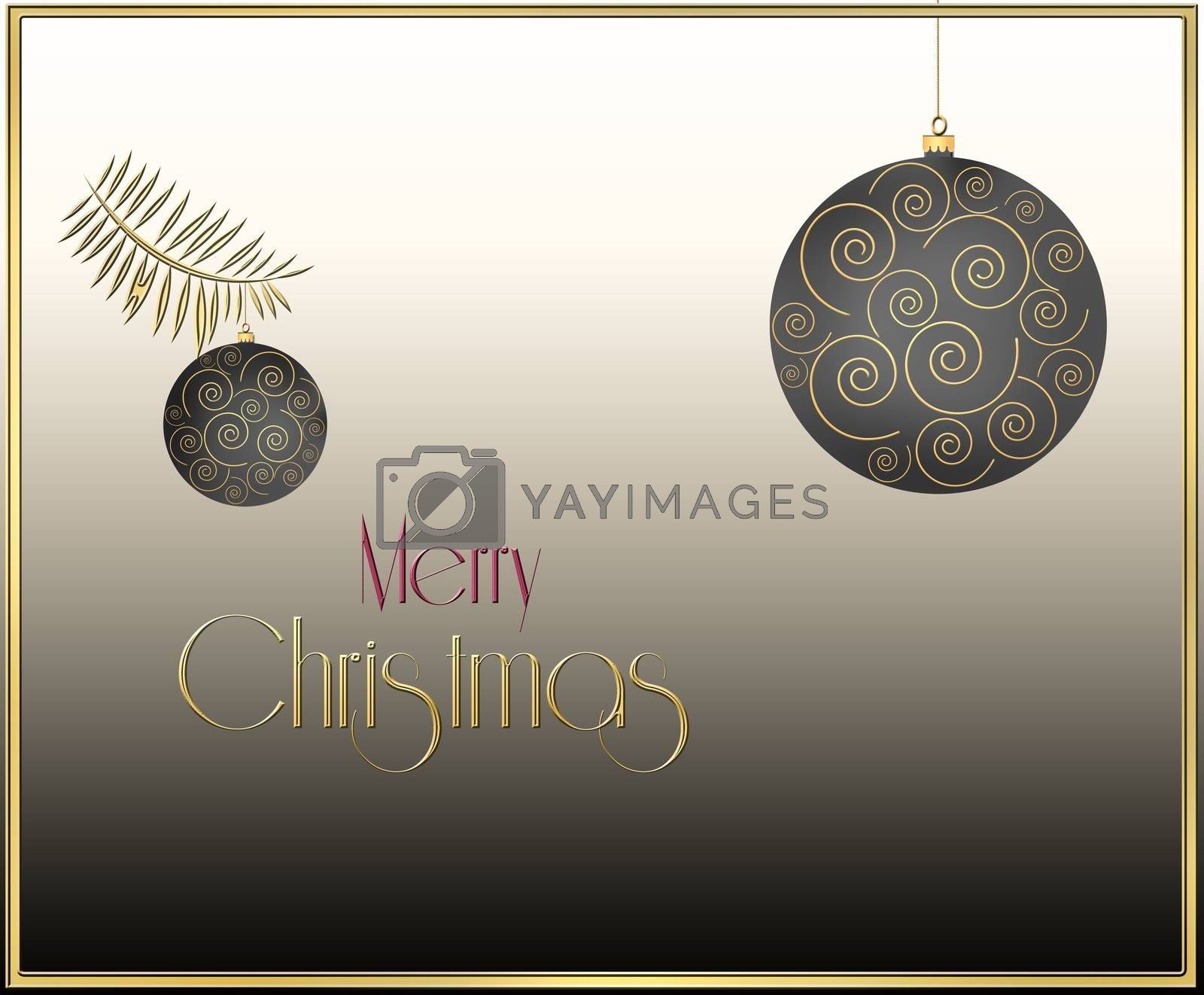 Christmas balls with gold ornament on pastel brown background. Text Merry Christmas. 3D Illustration.