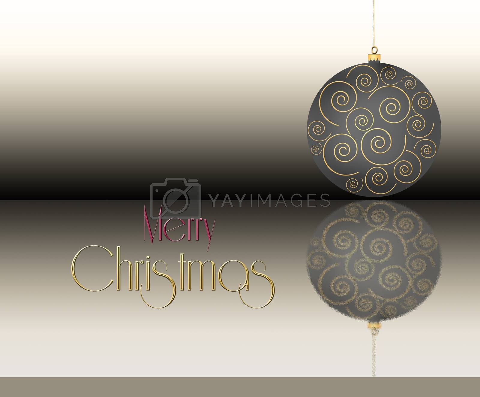 Christmas ball with gold ornament on pastel brown background with text Merry Christmas. 3D Illustration.
