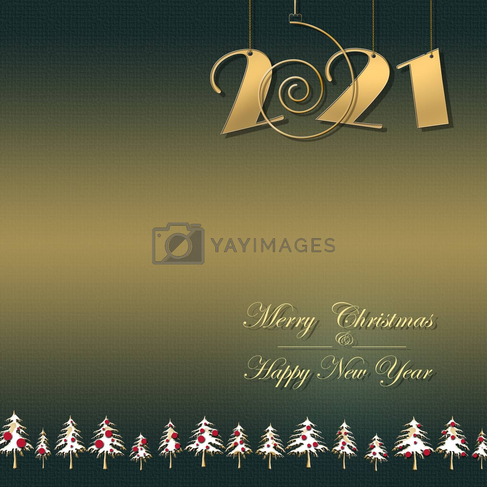 Luxury 2021 gold card with hanging 2021 digits on green gold background with christmas trees, text Merry Christmas Happy New Year. Banner, greeting cards, brochure, print. Copy space, 3D illustration