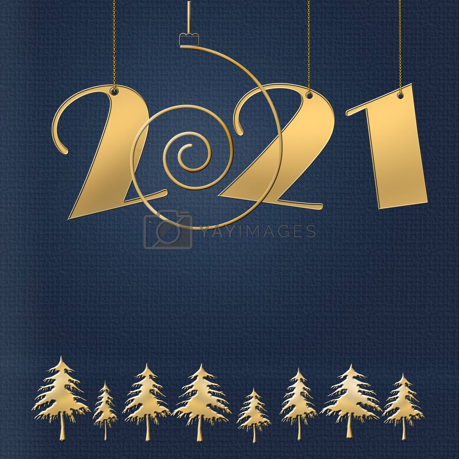 Luxury Happy New 2021 Year design with hanging 2021 digits numbers on chain, gold spiral and christmas trees on blue background. Winter holidays graphic, web design, business card, calendar cover. Copy space. 3D illustration