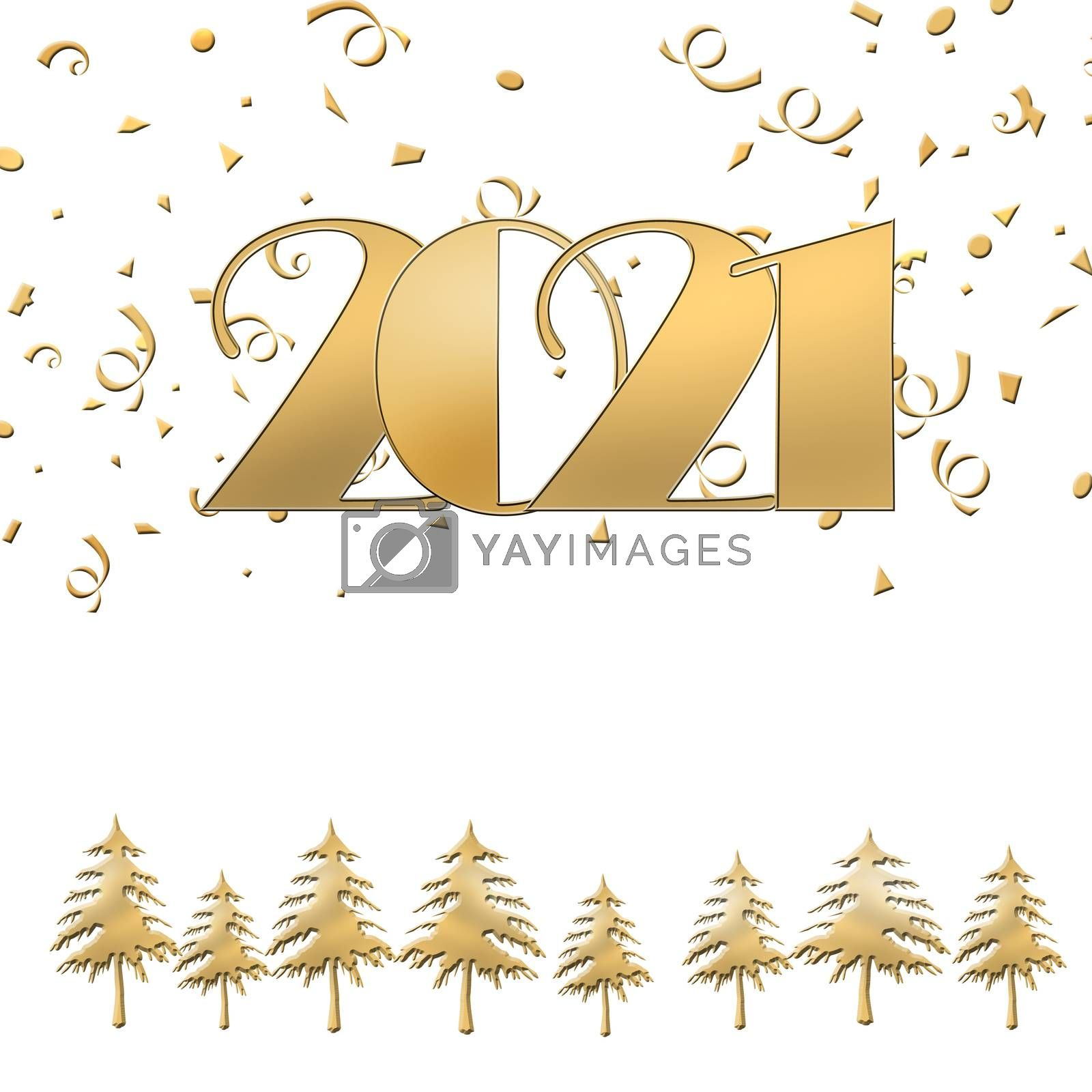 2021 Happy new year Merry Christmas gold text on white background with gold christmas trees and confetti. Elegant gold 2021 with light. Minimalistic text template. Copy space, mock up. 3D illustration