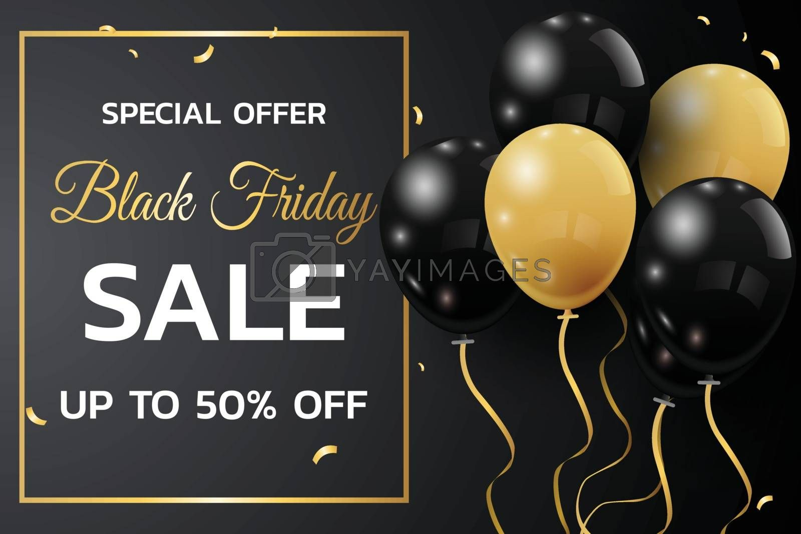 Black Friday Sale Poster with Shiny Balloons on Black Background with Square Frame.