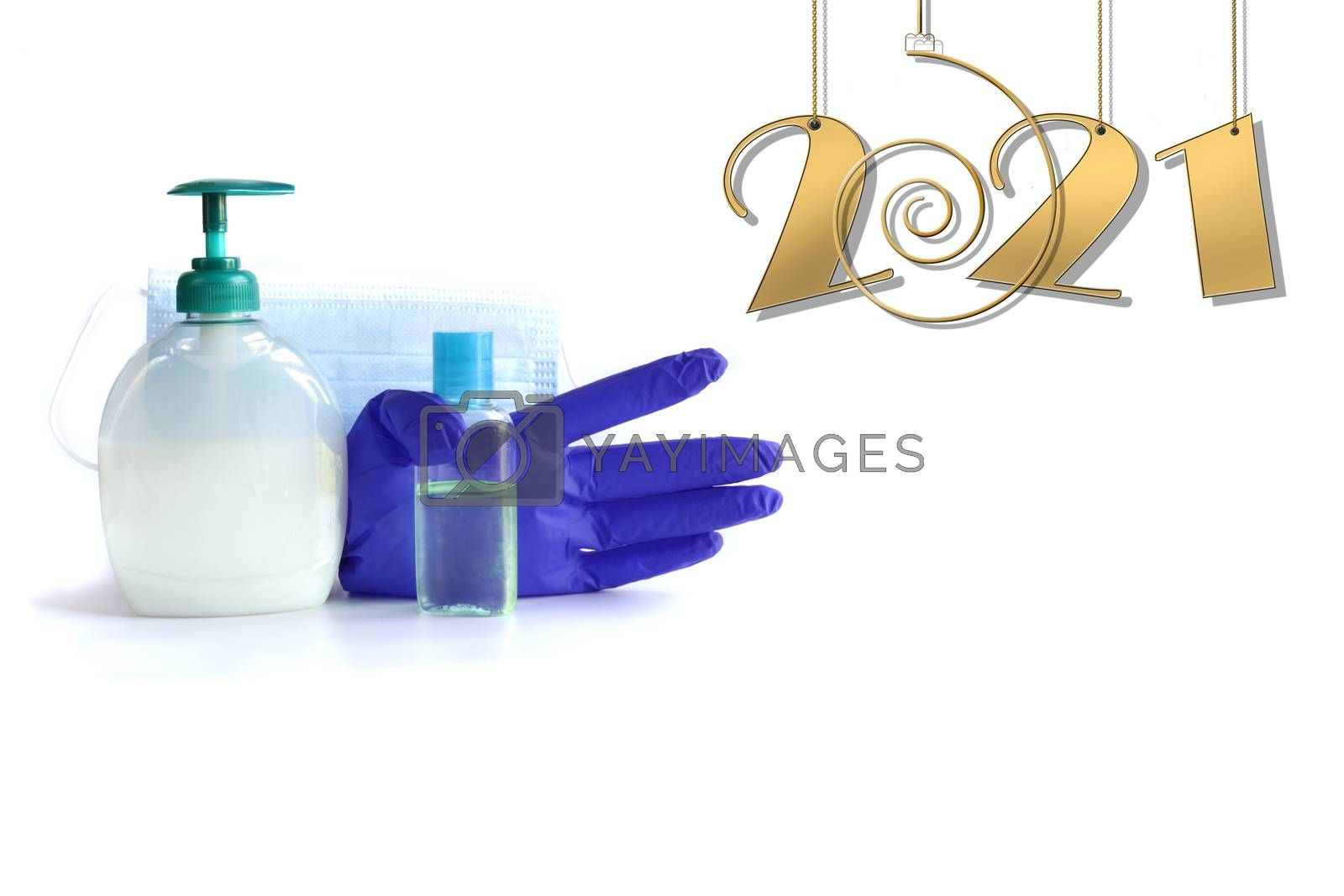 New year gold number 2021, protective face mask, antiseptic, gloves against virus on white background. New year 2021 awareness