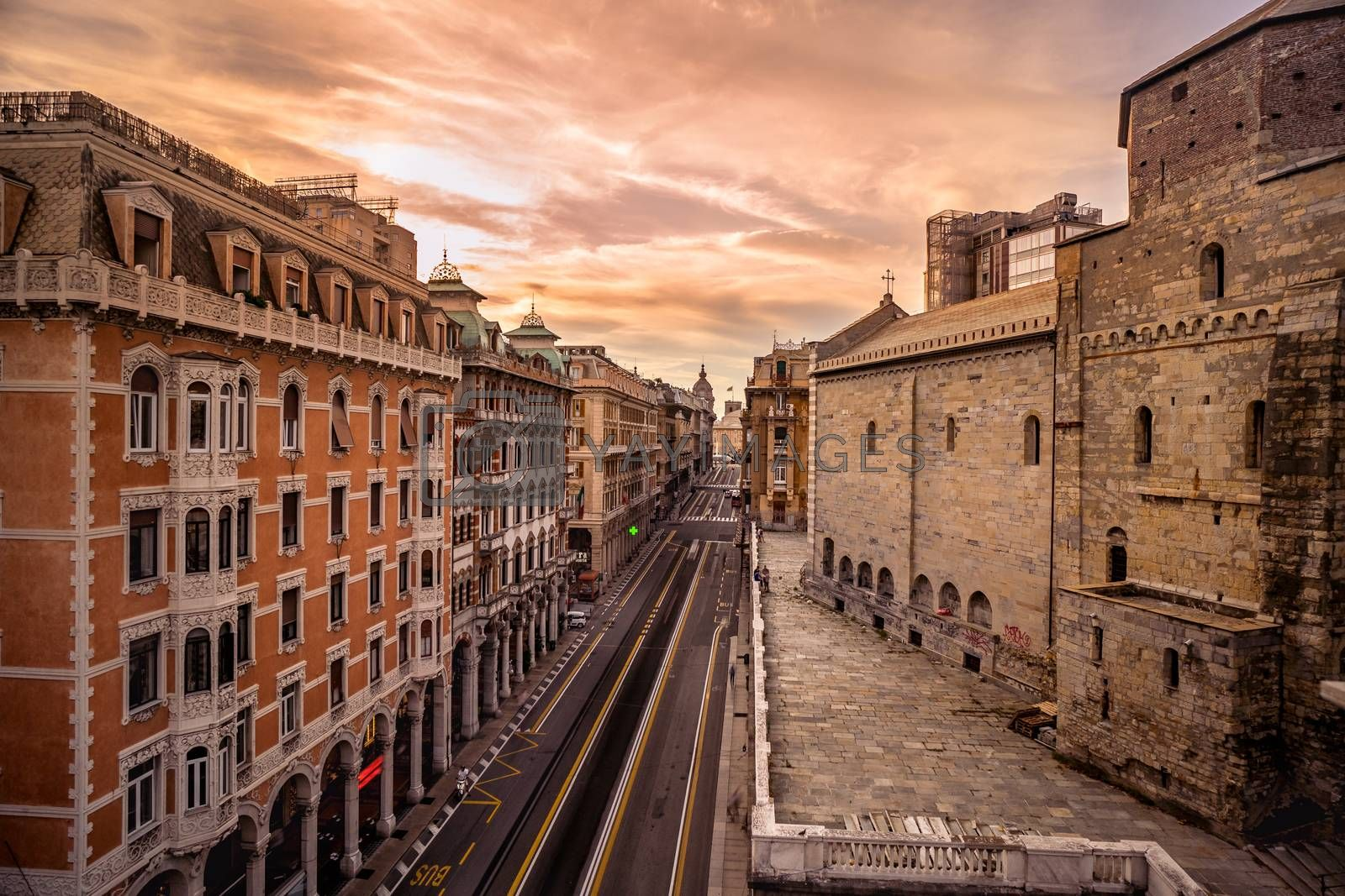 Royalty free image of Aerial view of via XX settembre in Genoa, Italy. by maramade
