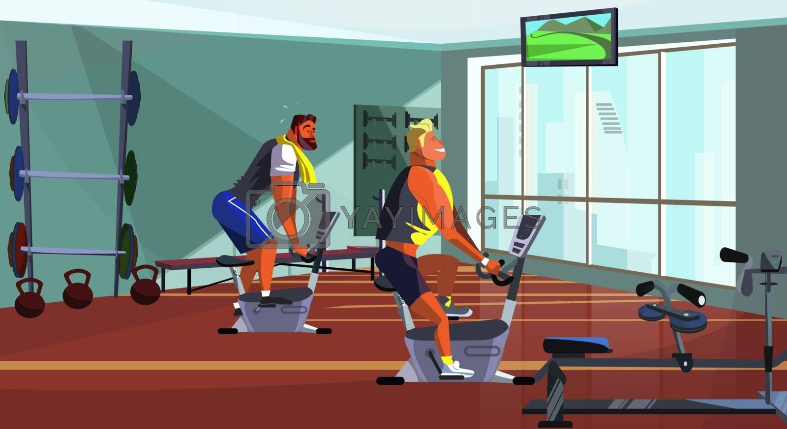 Athletic men training on fitness equipment vector illustration. Sporty guys spinning on bike in gym. Lifestyle concept