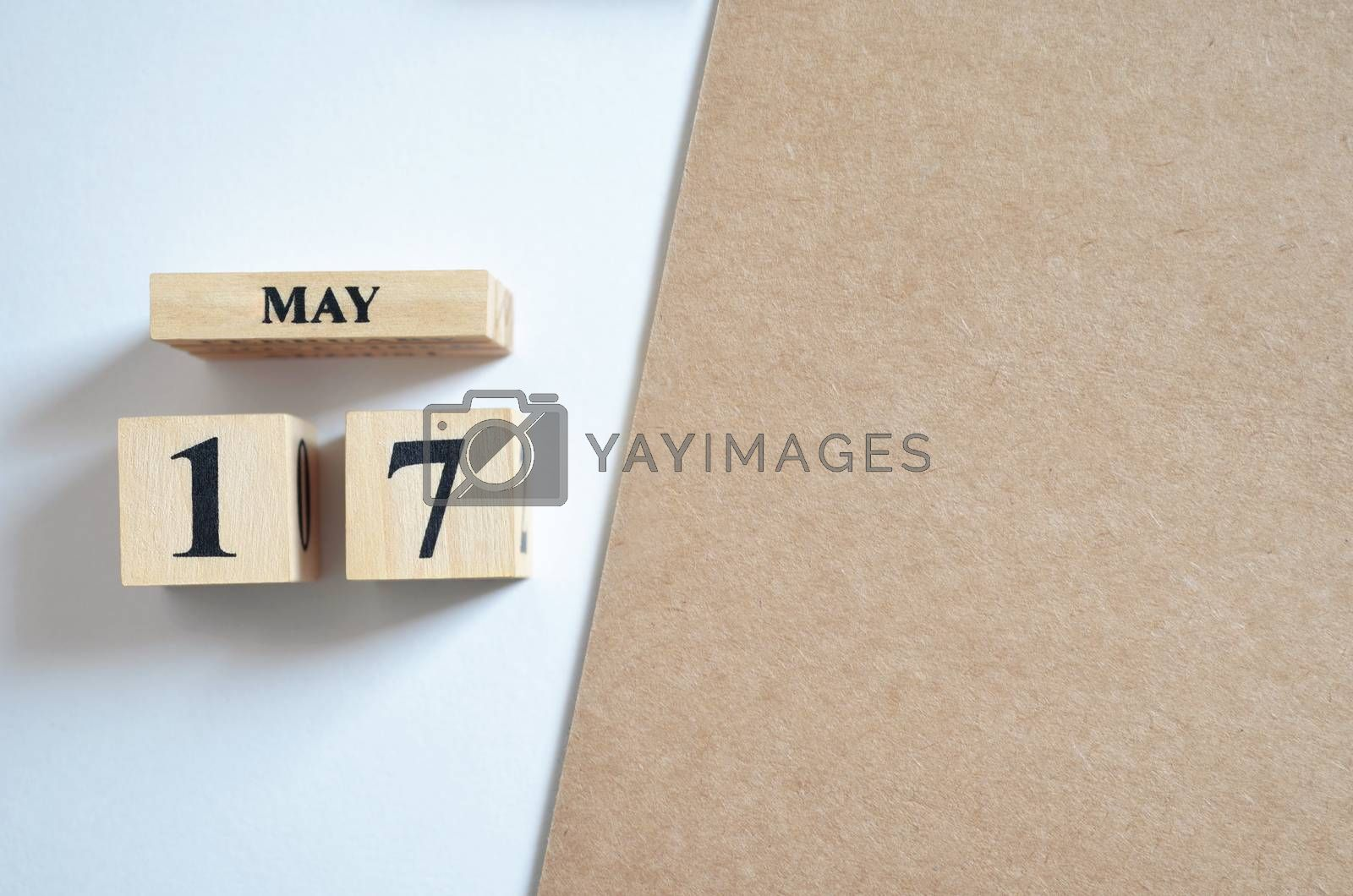 May 17, Empty white - brown background.