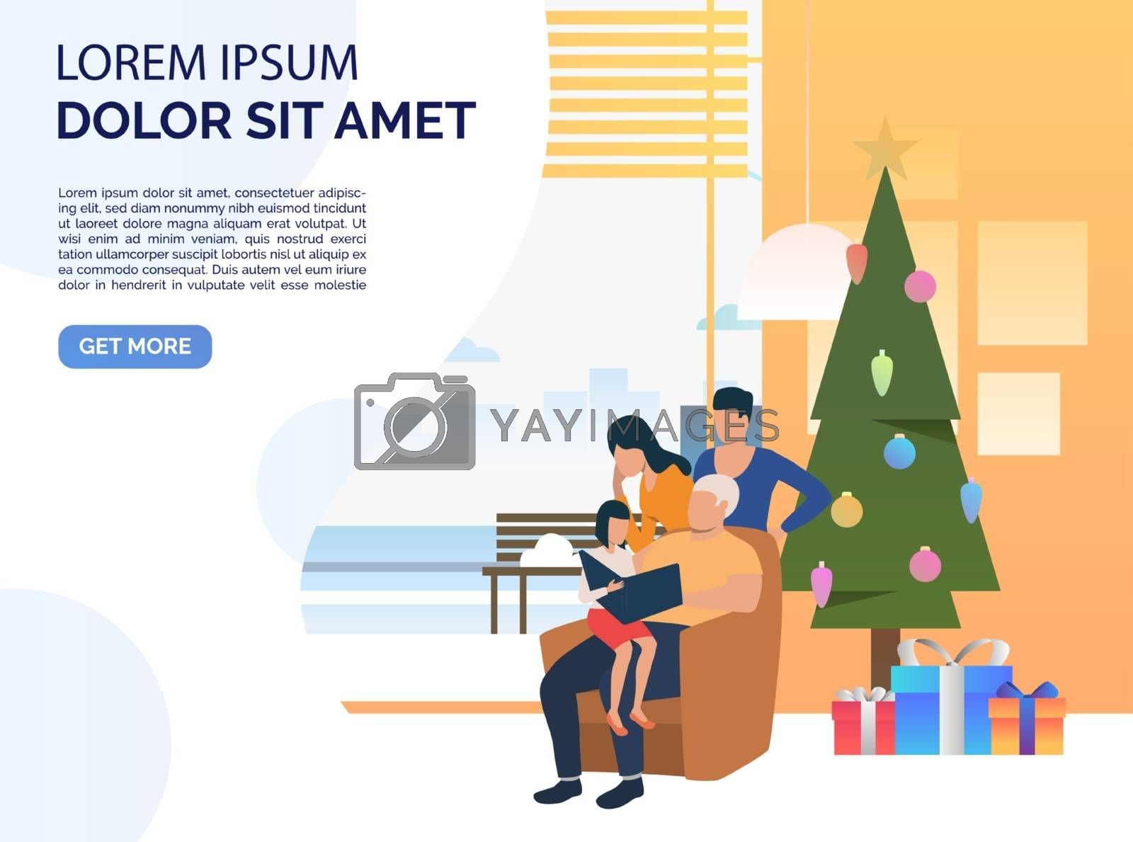 Happy family at Christmas night. Xmas, home, holiday. Christmas concept. Vector illustration can be used for presentation slide or landing page templates