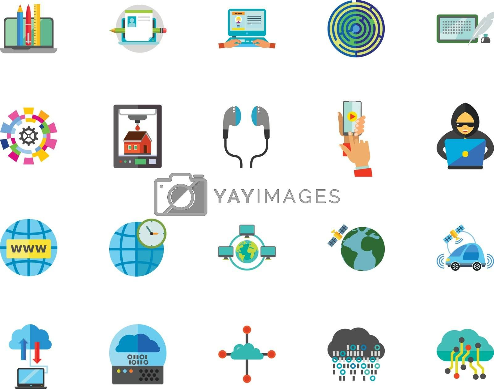 Internet technology icon set. Can be used for topics like communication, networking, gadget, connection, application, service