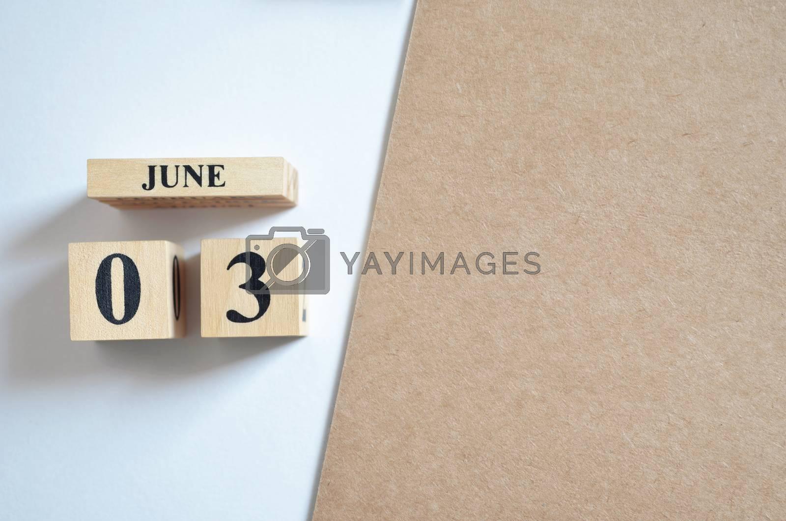 June 3, Empty white - brown background.