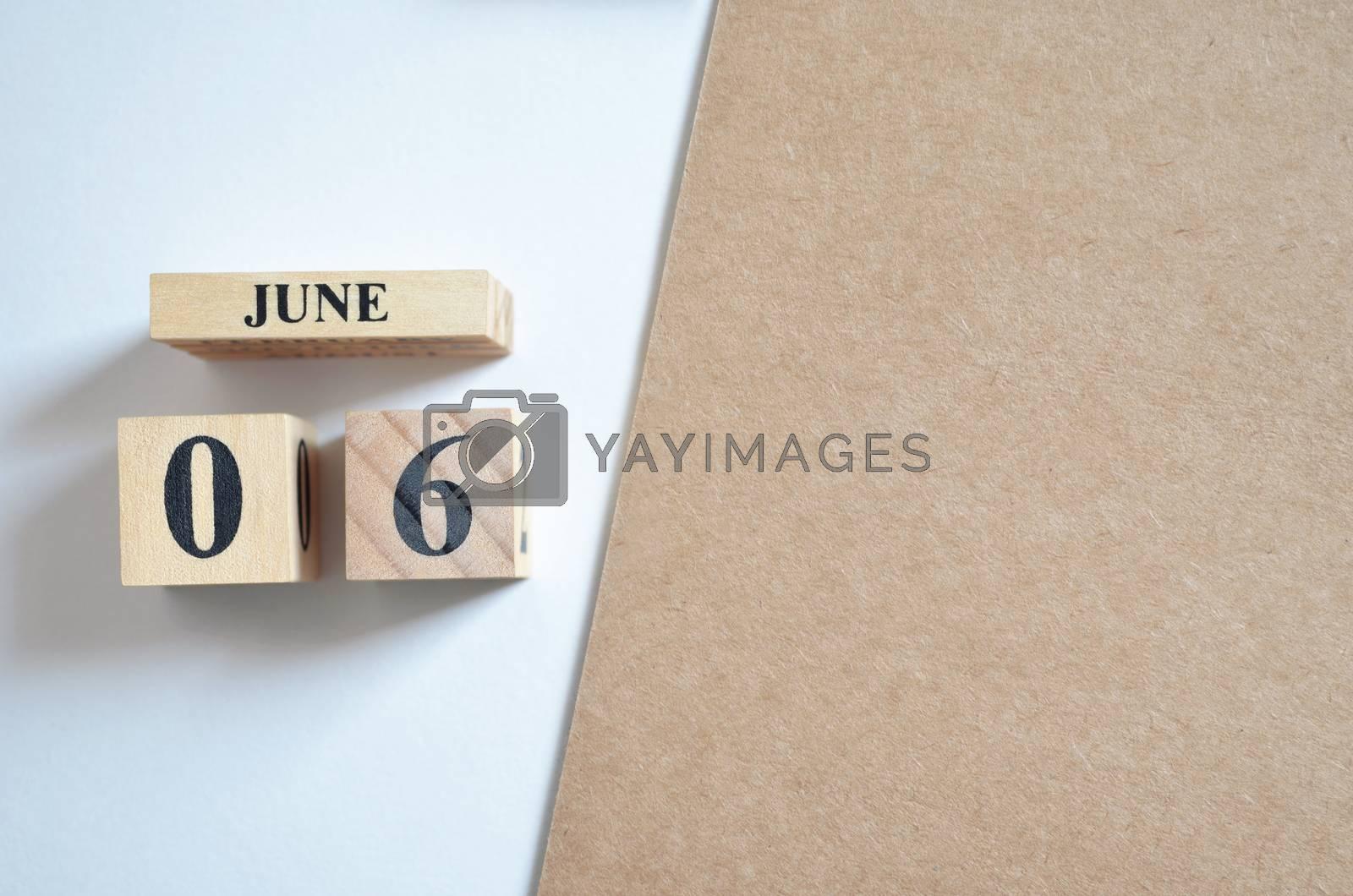 June 6, Empty white - brown background.