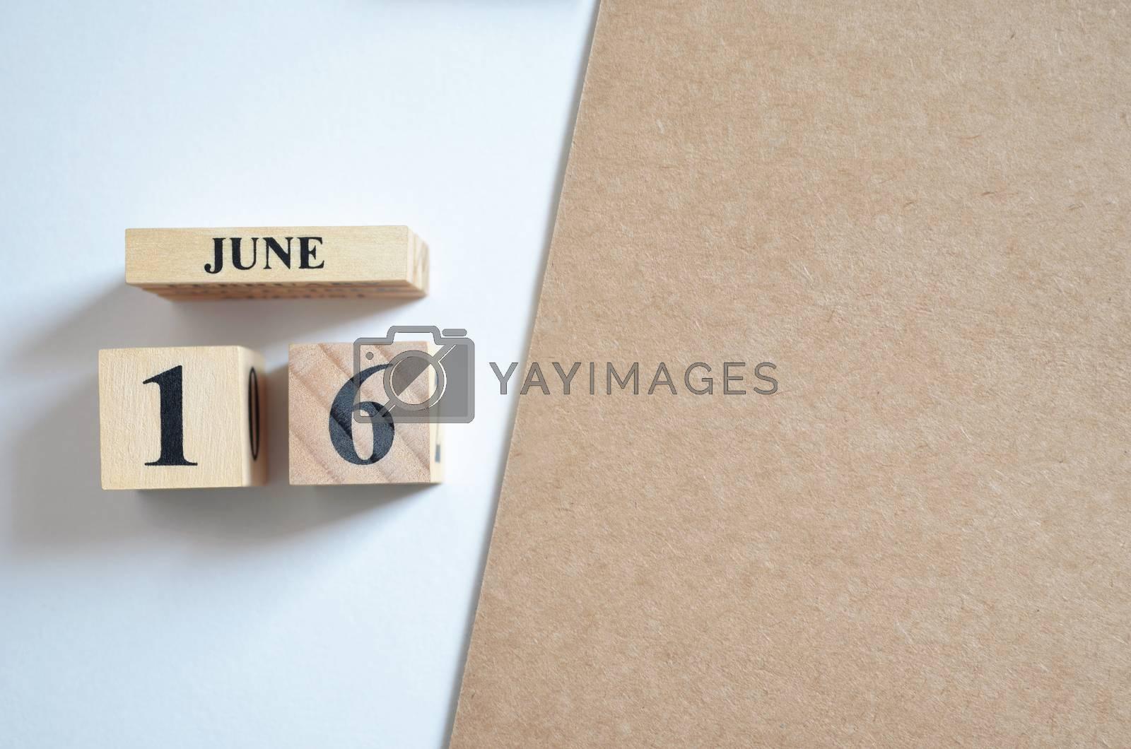 June 16, Empty white - brown background.