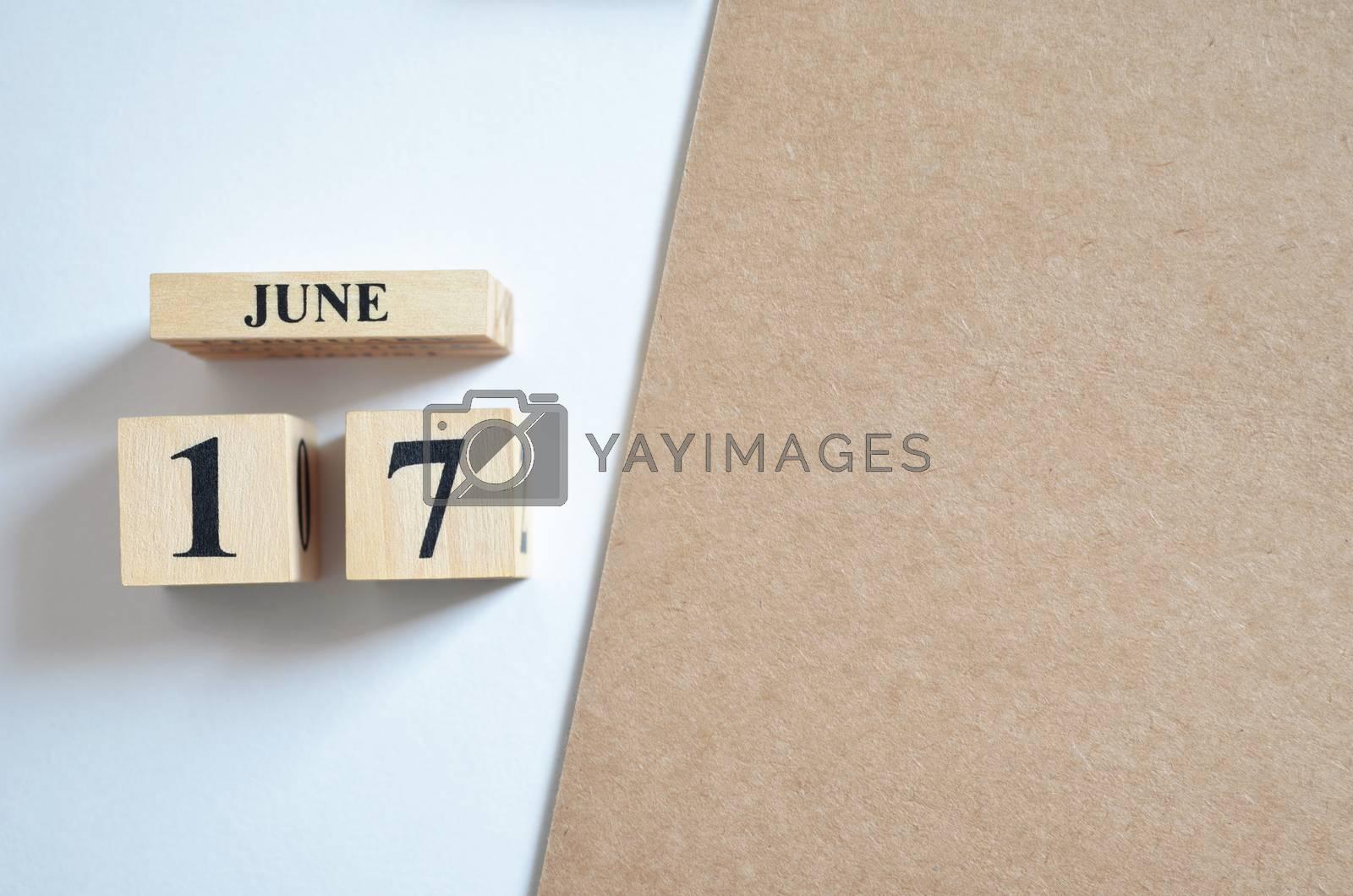 June 17, Empty white - brown background.