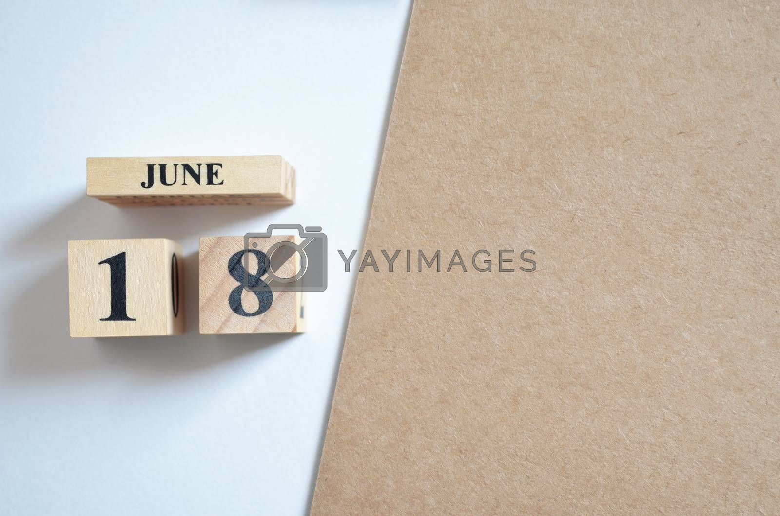 June 18, Empty white - brown background.