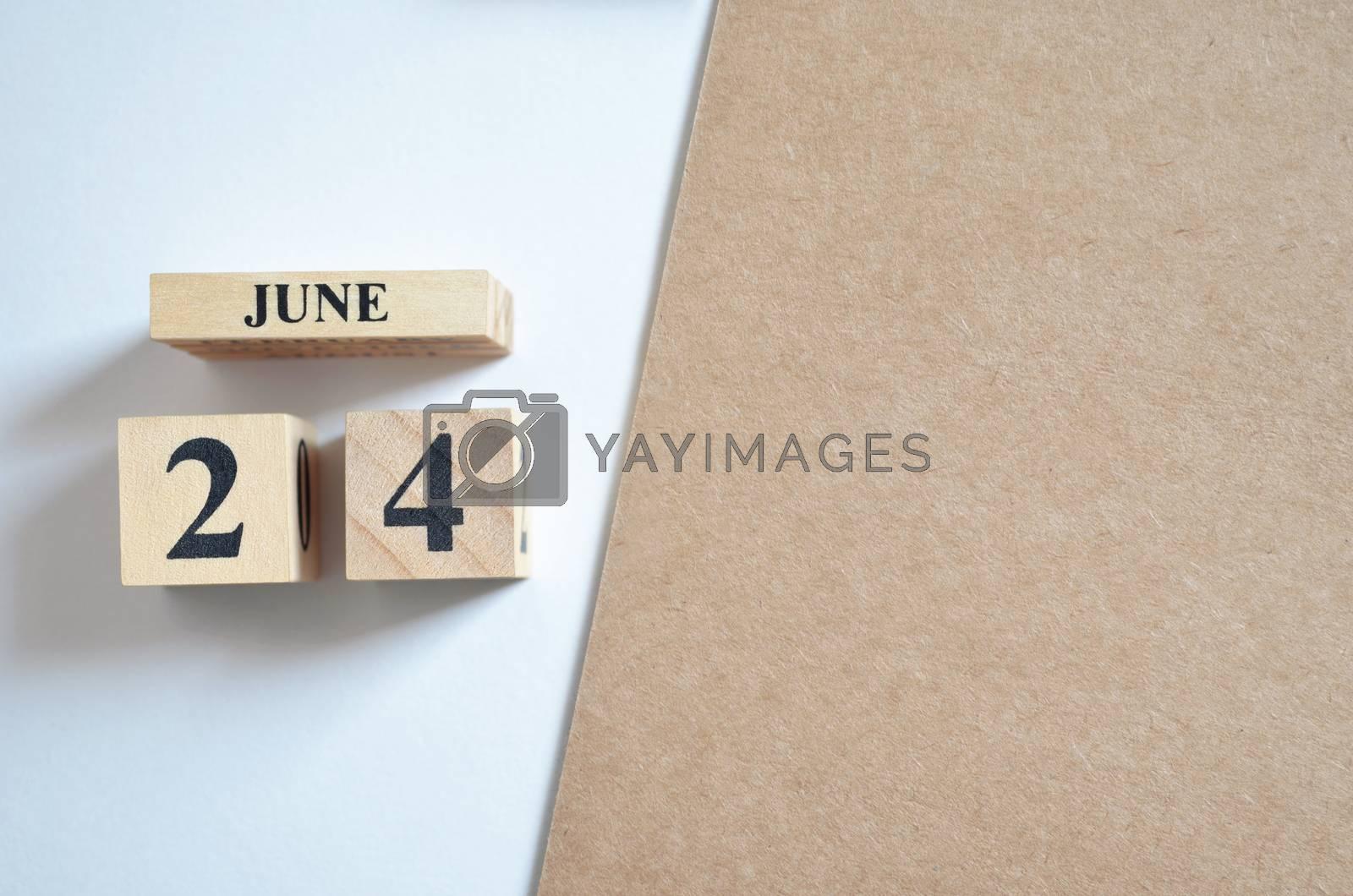 June 24, Empty white - brown background.