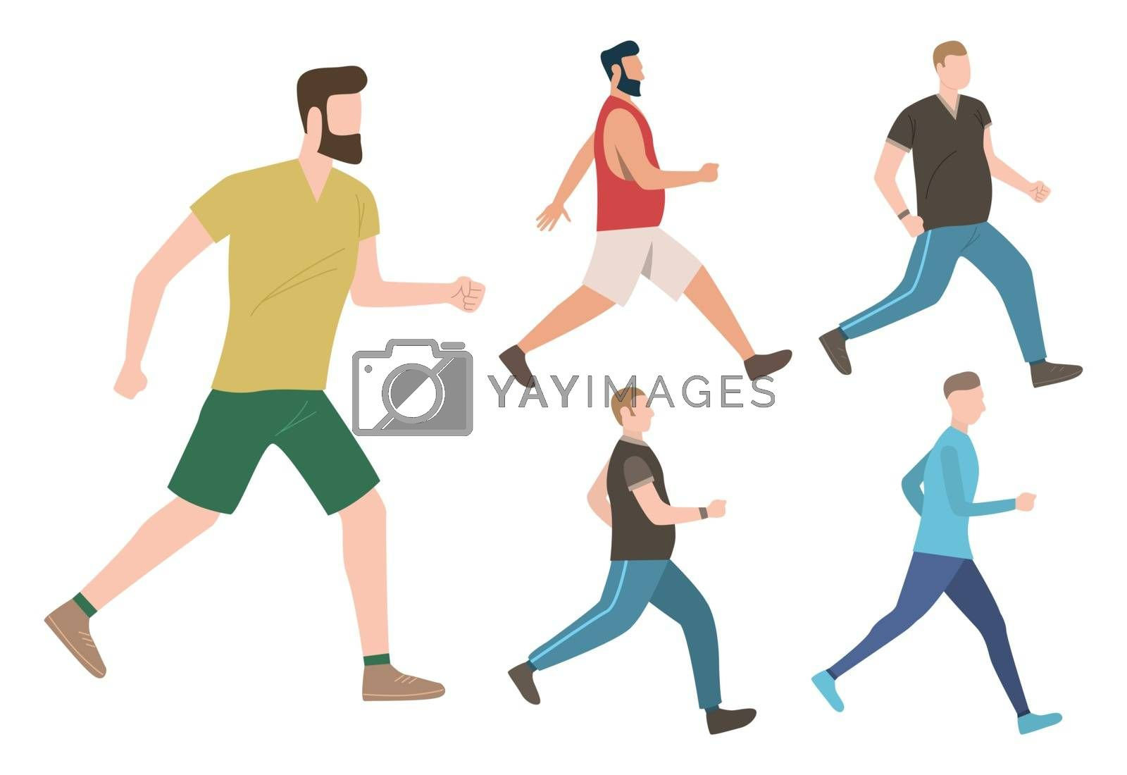 Set of male keeping active lifestyle. Well built and fat men walking and running. Fitness concept. Vector illustration can be used for topics like cardio training or jogging