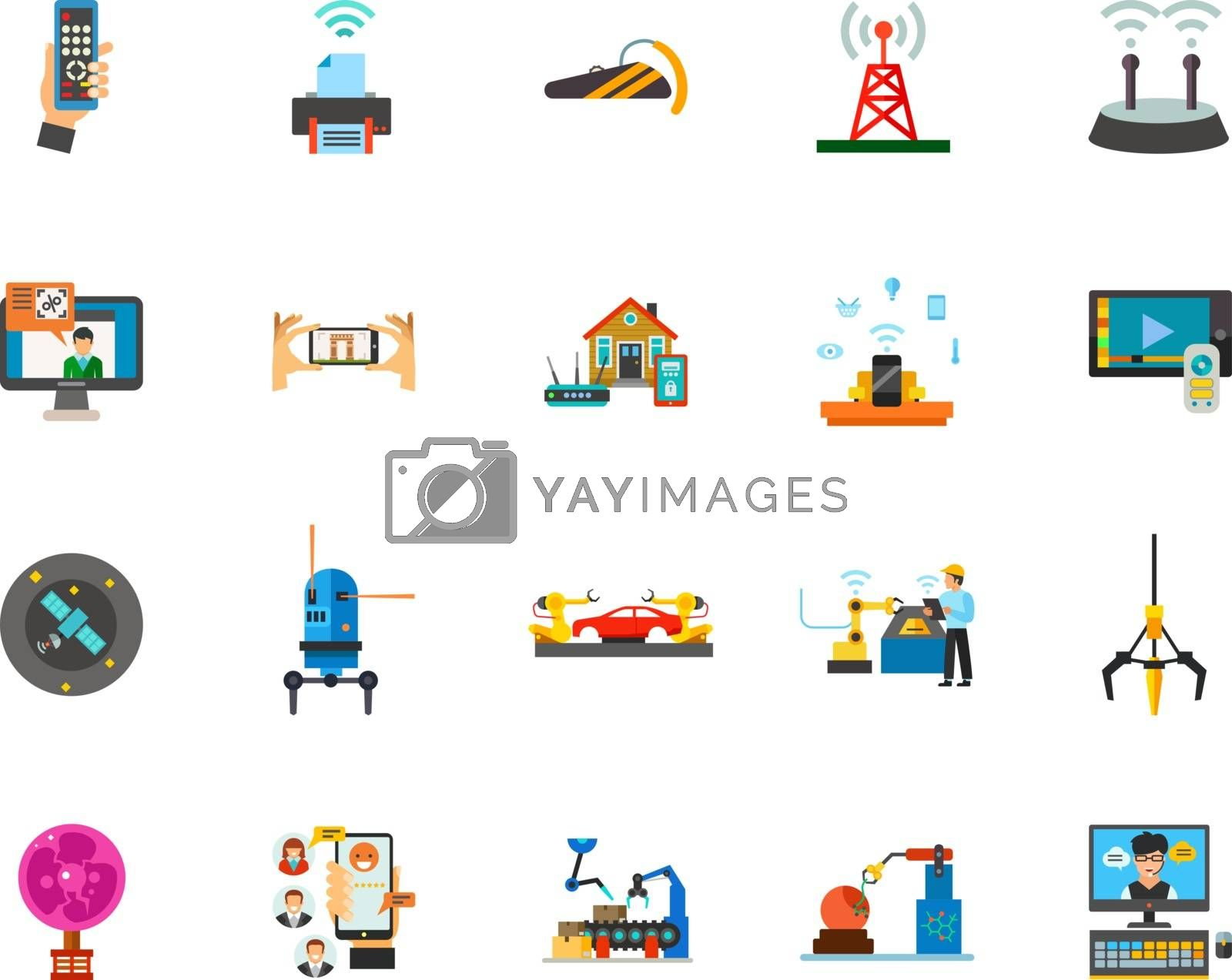 Technology icon set. Can be used for topics like smart and robotic technology, remote and satellite control, wireless technology, modern industry and communication