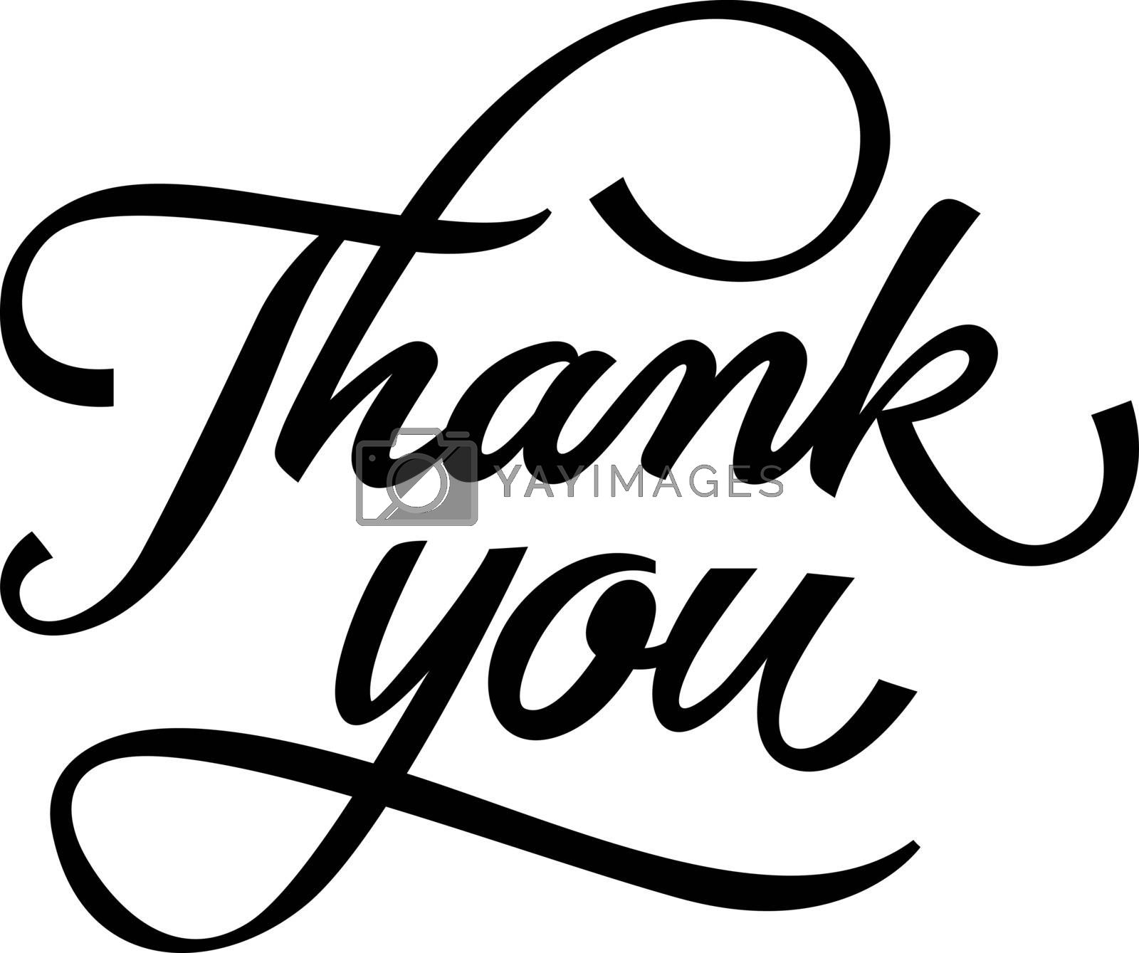 Thank You lettering. Handwritten and typed text, calligraphy. For greeting cards, posters, leaflets and brochure.