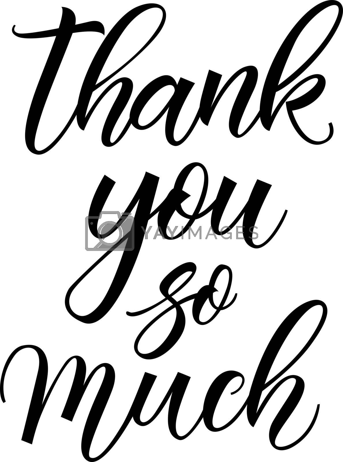 Thank you lettering. Hand drawn inscription. Calligraphic text can be used for greeting cards, postcards, posters, banners