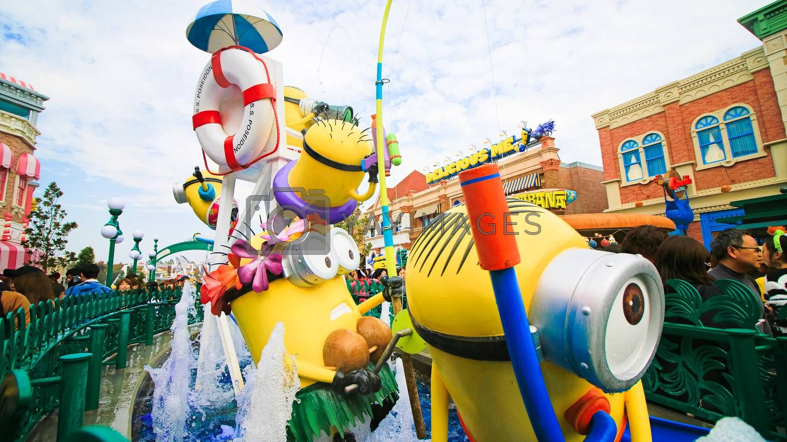 Royalty free image of Close up of HAPPY MINION statue by USA-TARO