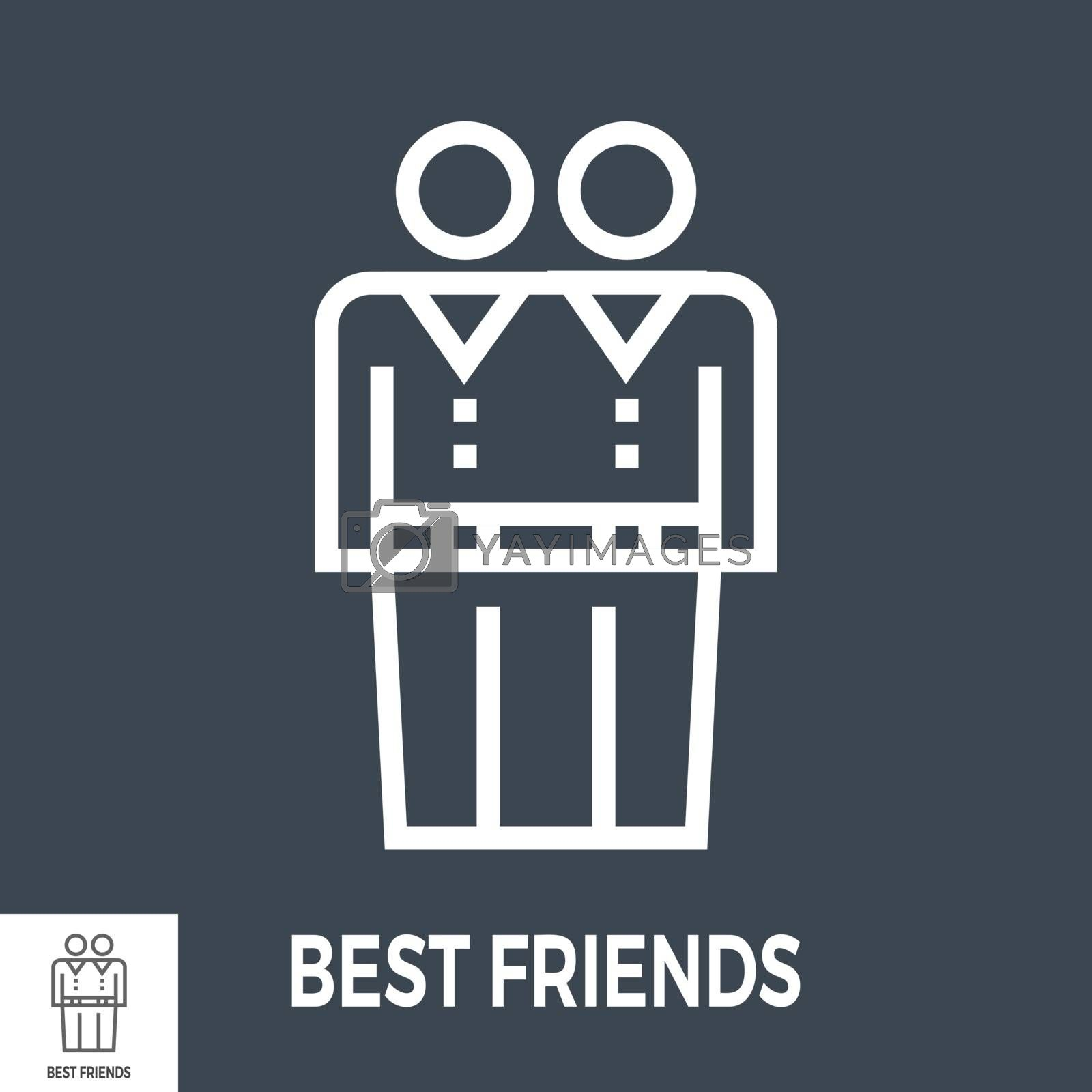 Best Friends Thin Line Vector Icon Isolated on the Black Background.