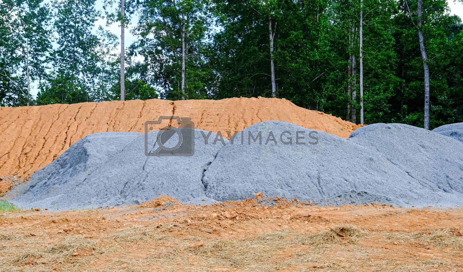 Piles of Gravel and Dirt at a Residential Construction Site