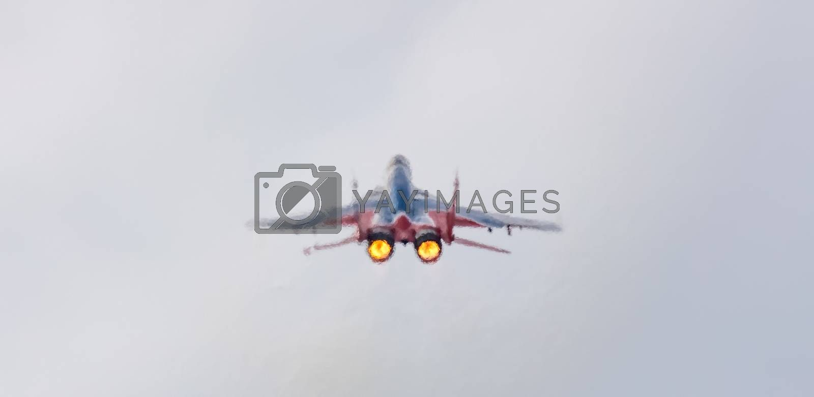Barnaul, Russia - September 19, 2020: A low angle close-up shot of Strizhi MiG-29 fighter jet performing stunts during an aeroshow. Two jets heating up air and making it blurry around the plane.