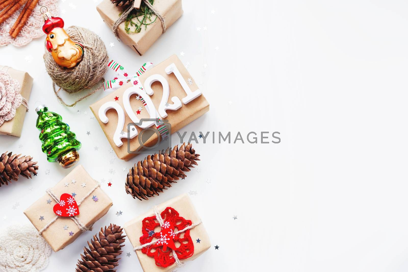 Christmas present on white background with copy space. New Year  by aksenovko