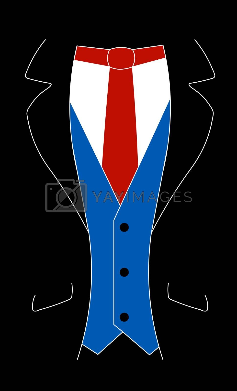 A suit with a red tie and blue iner jacket.