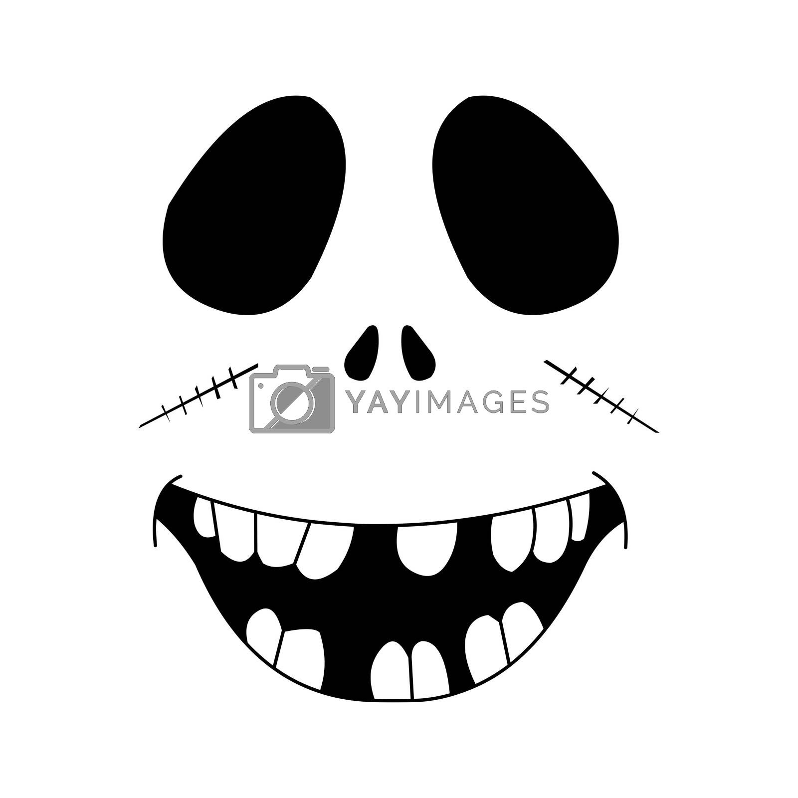 A black and white smiling Halloween zombie face.