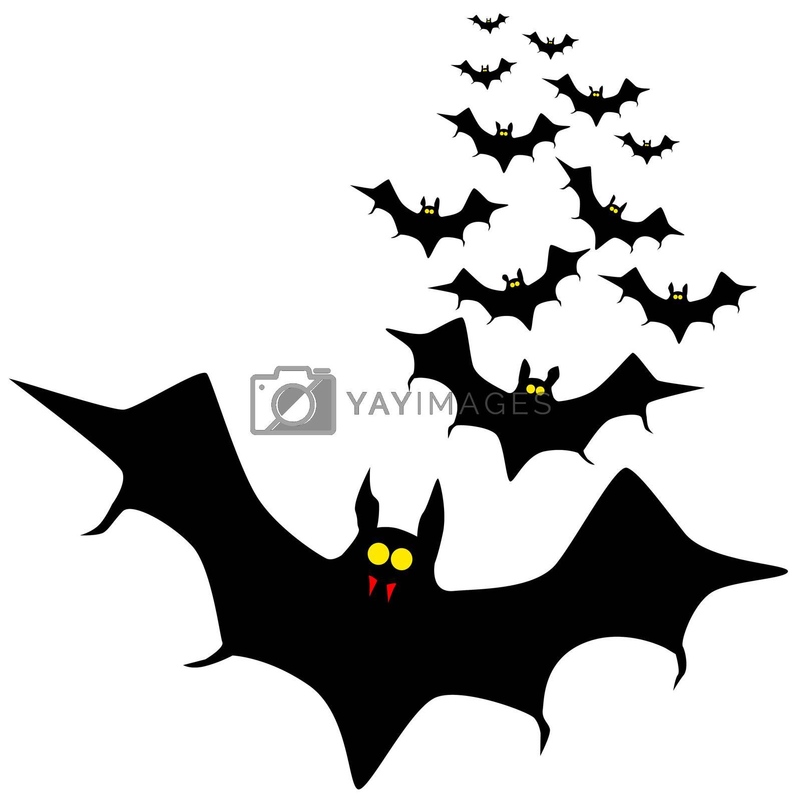 Vampire bats flying in formation.