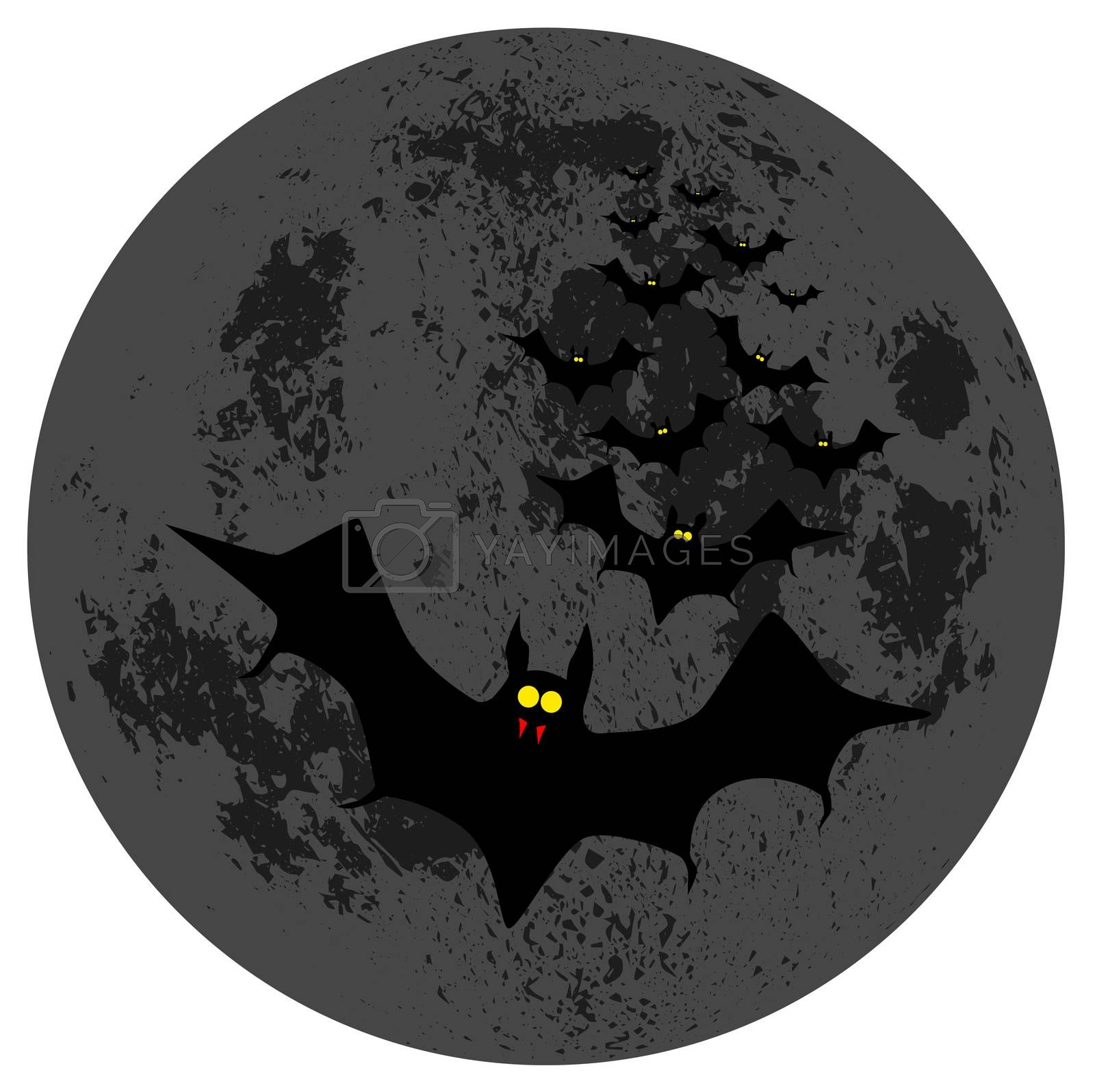 Vampire bats flying in formation against the moon.