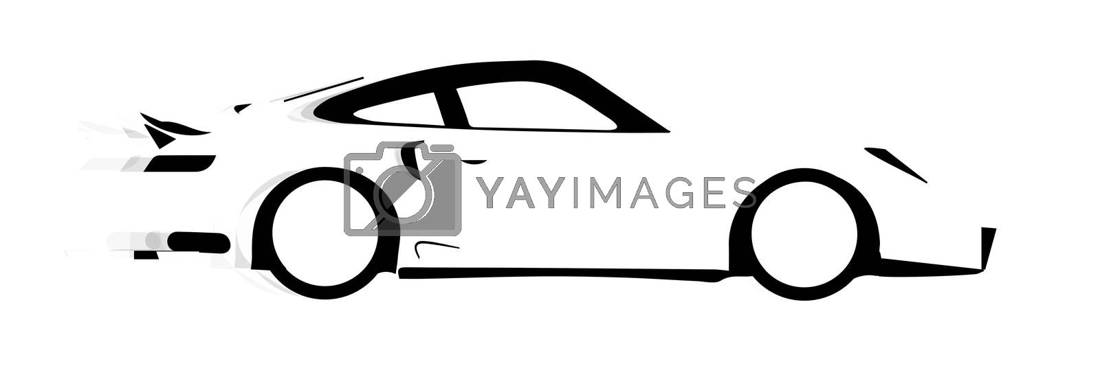 A fast car in silhouette with speed blur over white.
