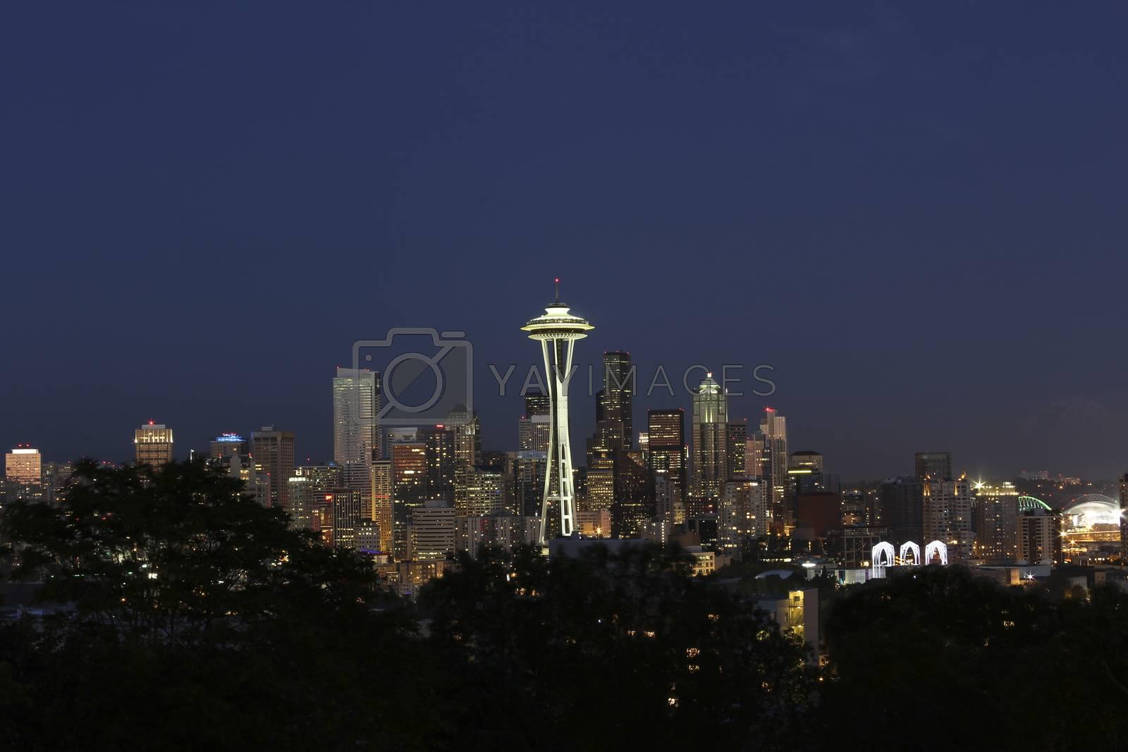 Twilight Skyline of Seattle Washington in Summer time