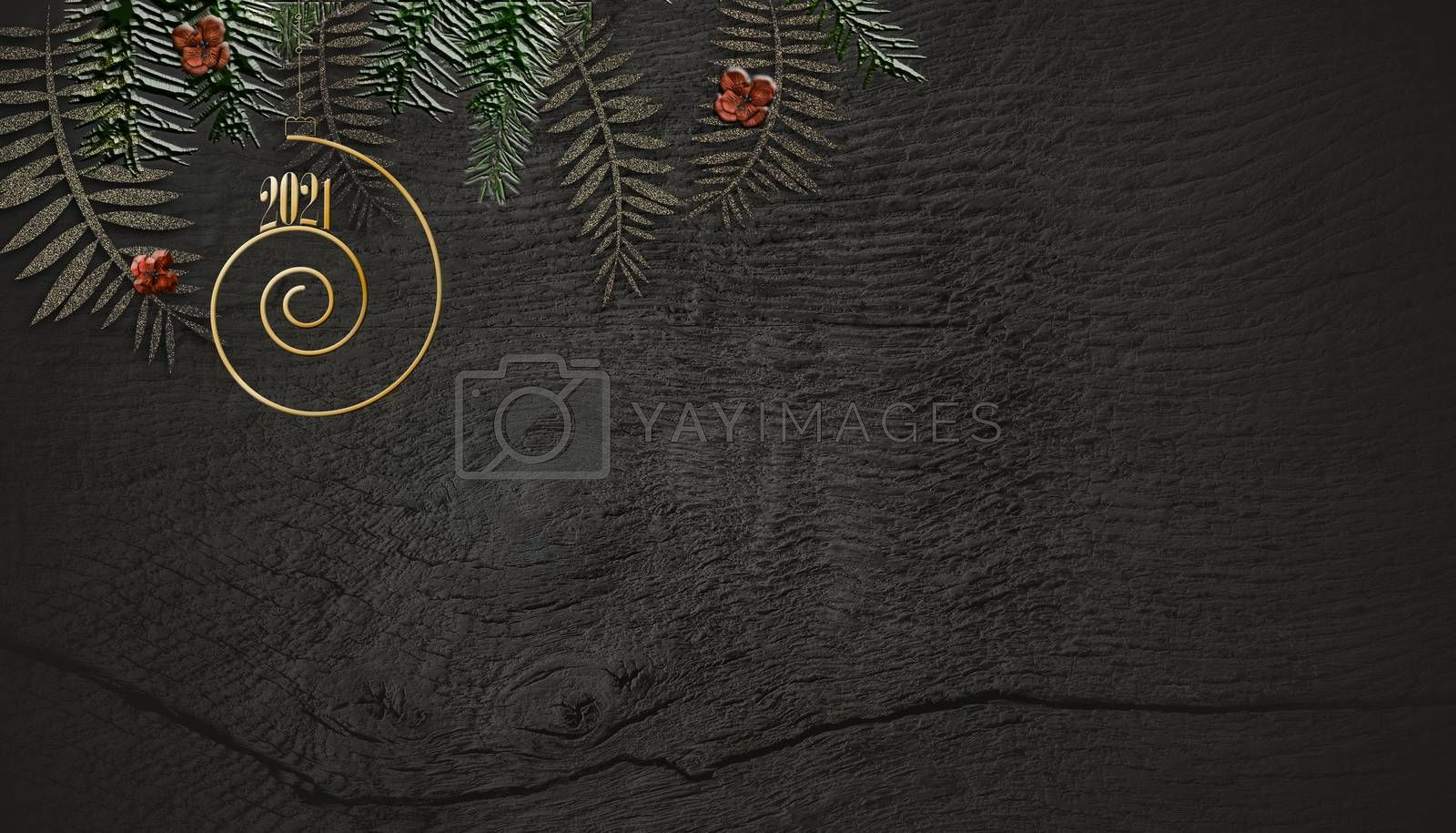 Christmas 2021 New Year wooden background. Hanging gold digit 2021, fir branches on grunge dark antique wooden background. Copy space, place for text, 3D render