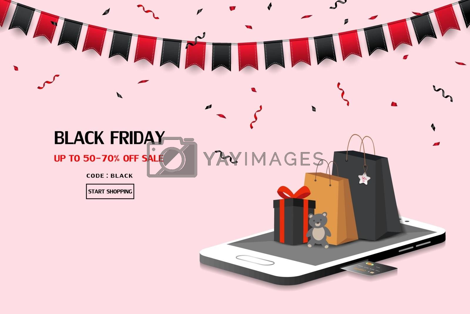 Black friday sale on mobile application or website,for advertising,shopping online,banner,poster or flyer by PIMPAKA