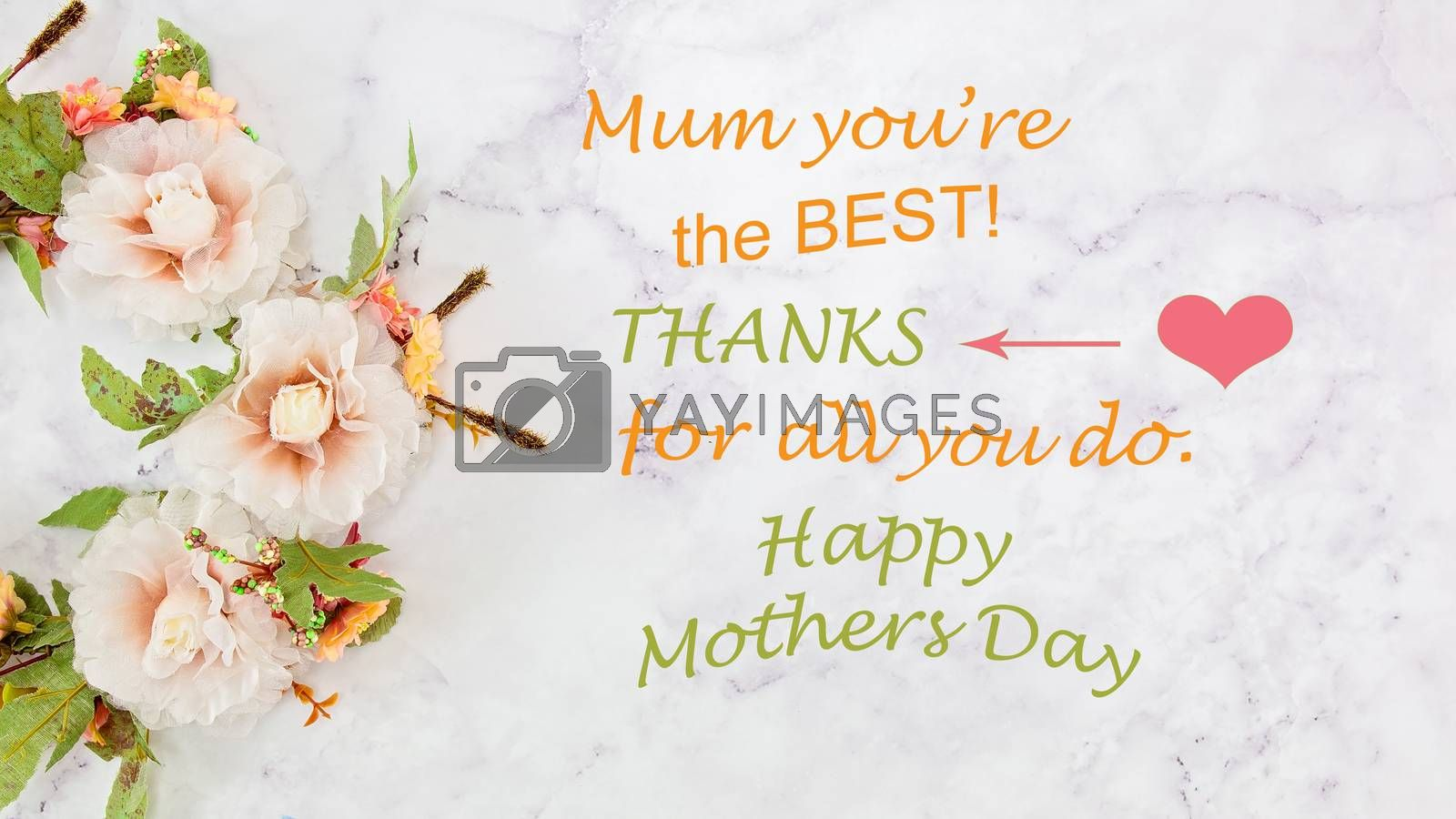 Mothers Day floral greeting card with text message on marbled background