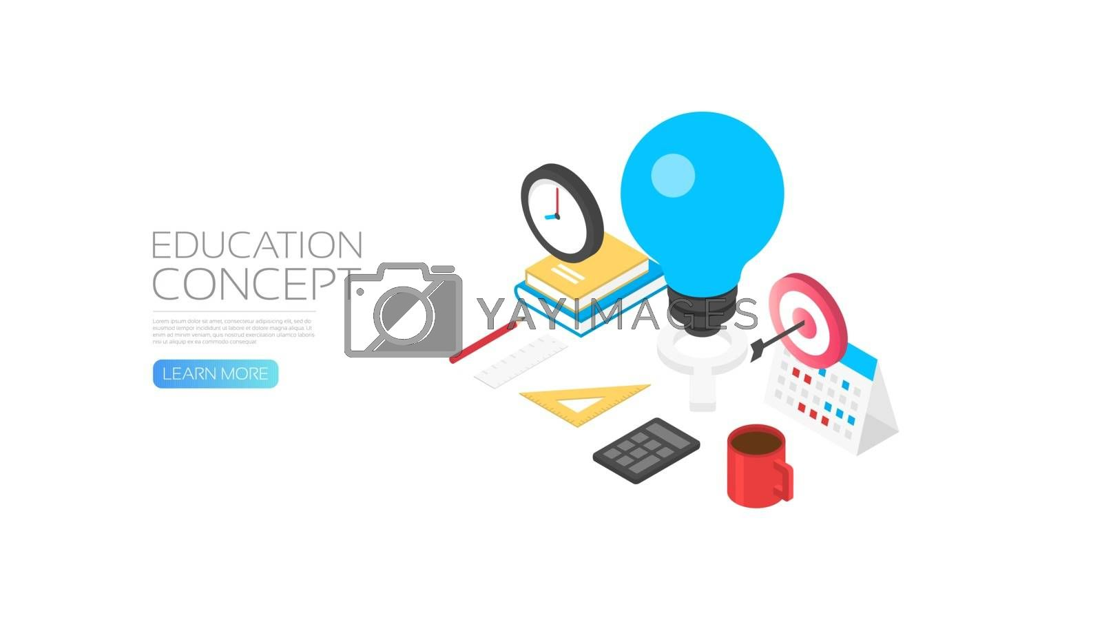 Isometric knowledge concept, lightbulb and student's gadget