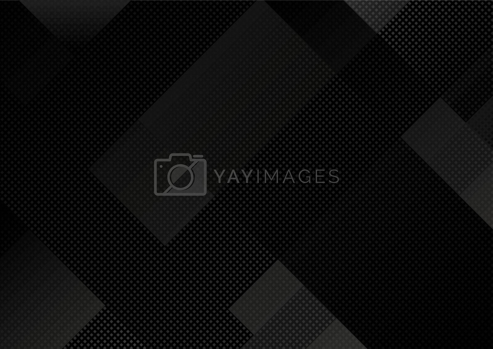 Black Abstract Geometric Grid Background - Dark Pattern with Diagonal Grid in Dark Gray Colors, Vector Illustration