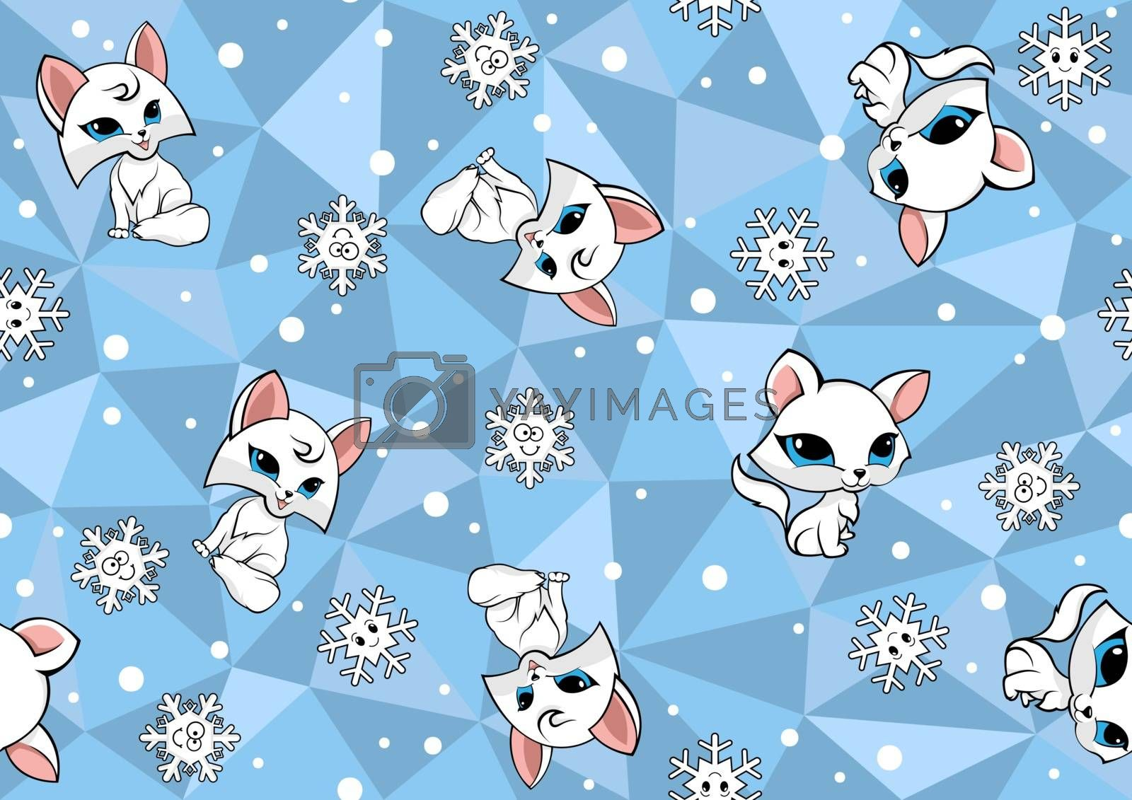 Seamless Baby Pattern with Arctic Fox on Blue Polygonal Background - Wintry Repetitive Print Texture, Vector Illustration