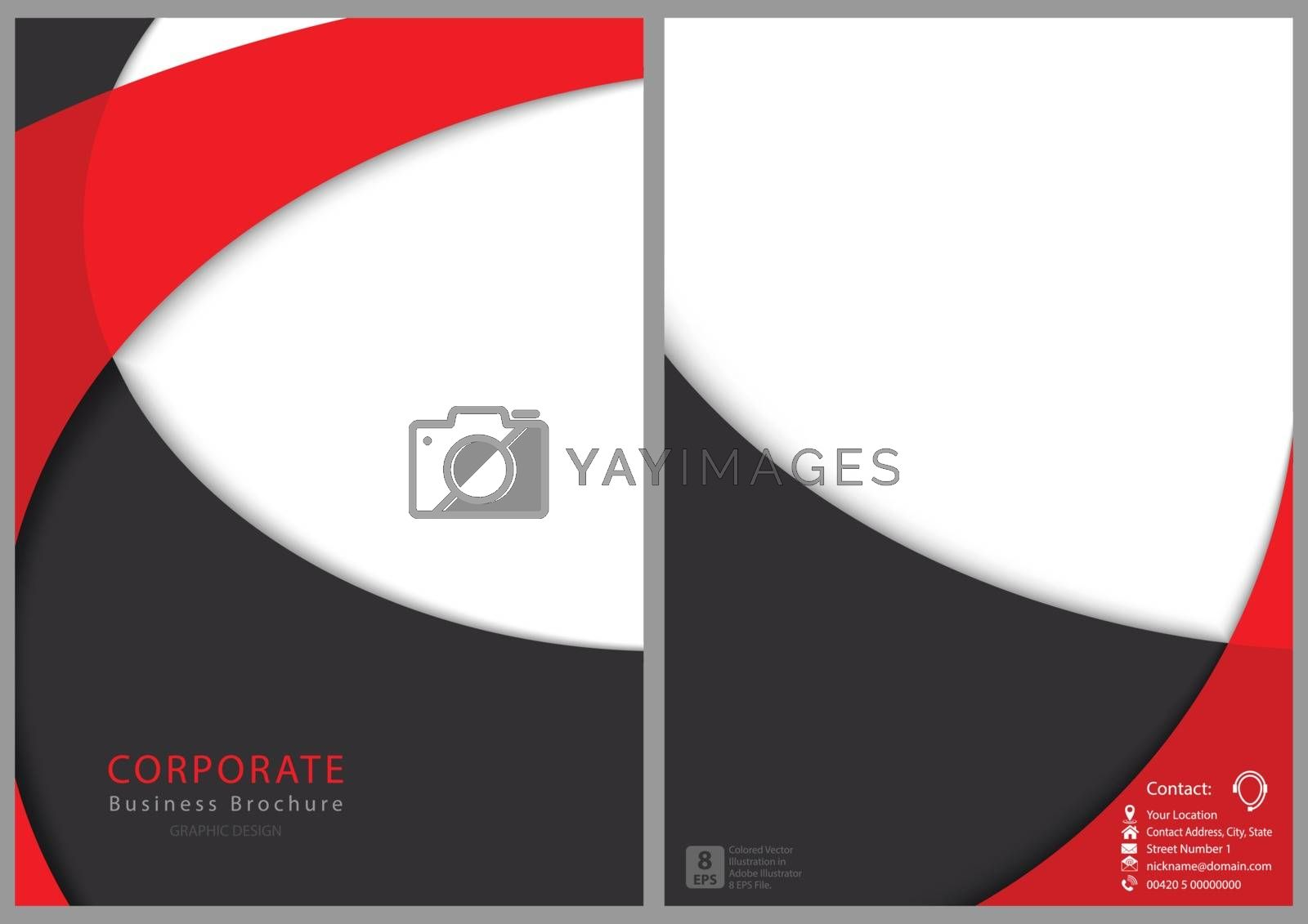 Modern Flyer Template with Curved Shapes - Red and Gray Layered Shapes with Shadows, Vector Illustration