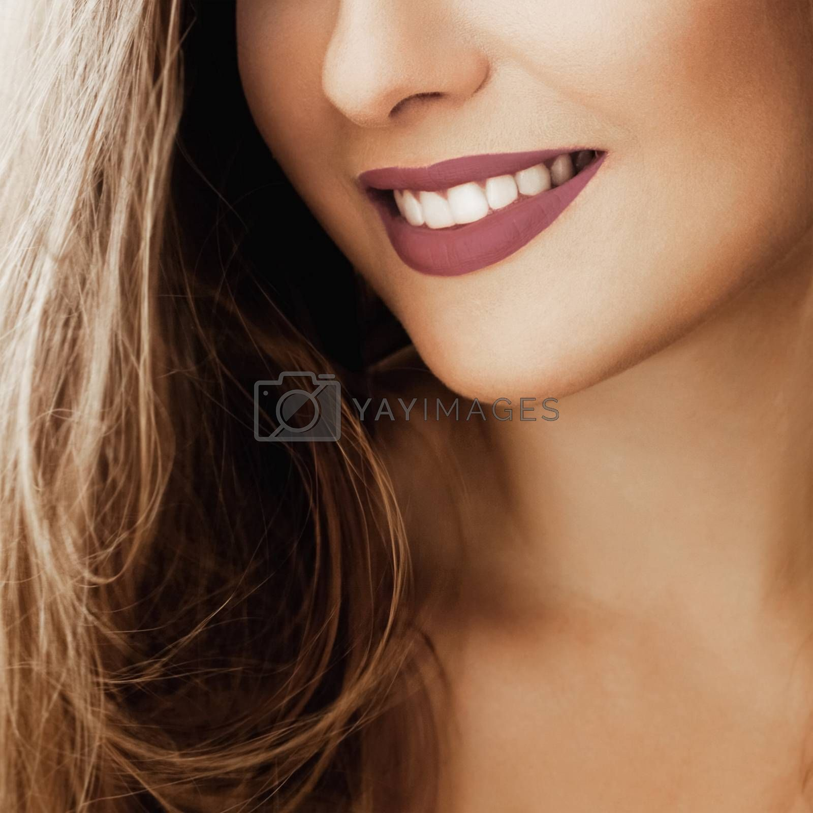 Cheerful healthy female smile with perfect natural white teeth, beauty face closeup of smiling young woman, bright lipstick makeup and clean skin for dental and healthcare brands